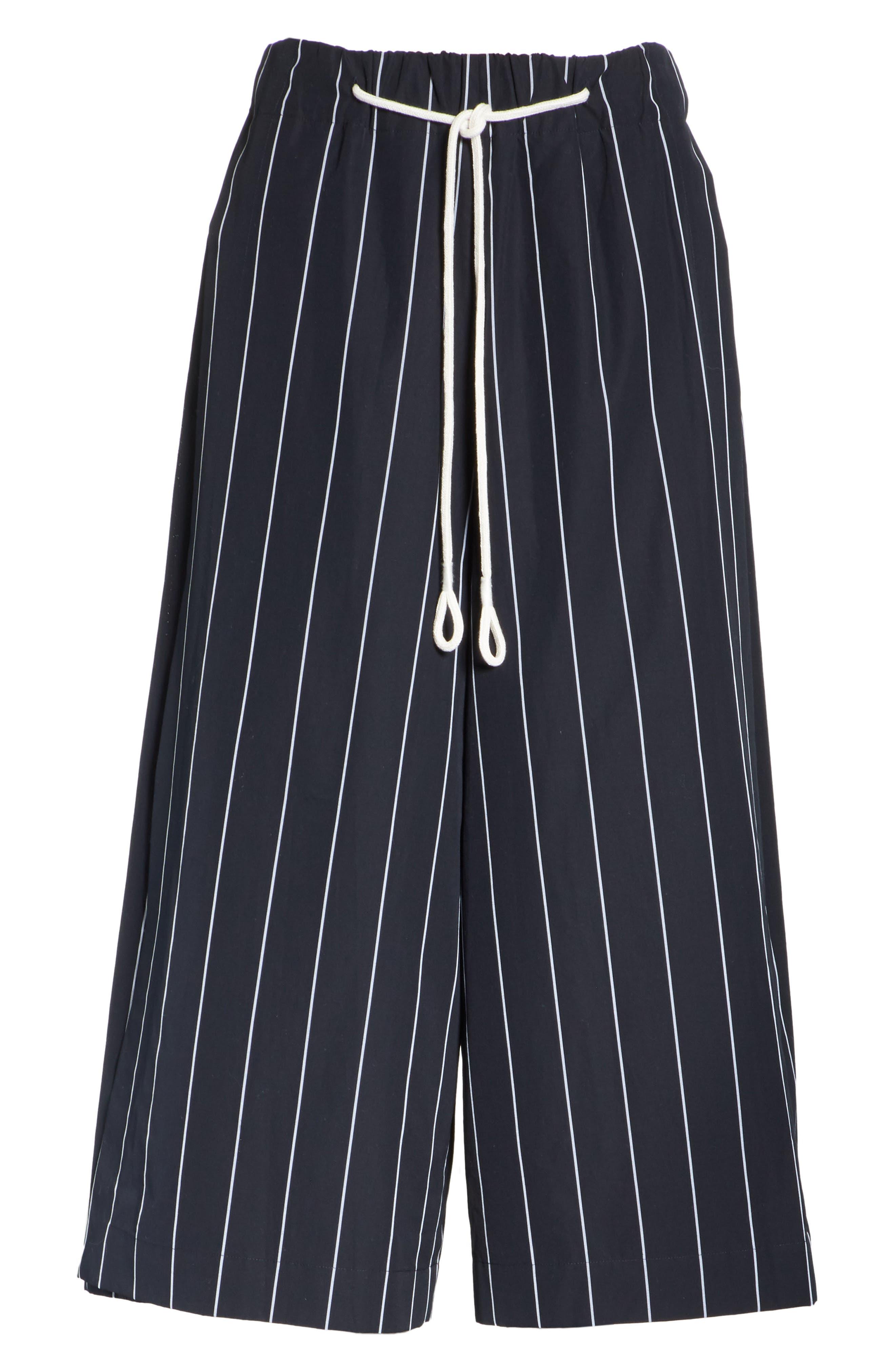 Stripe Cotton Culottes,                             Alternate thumbnail 6, color,