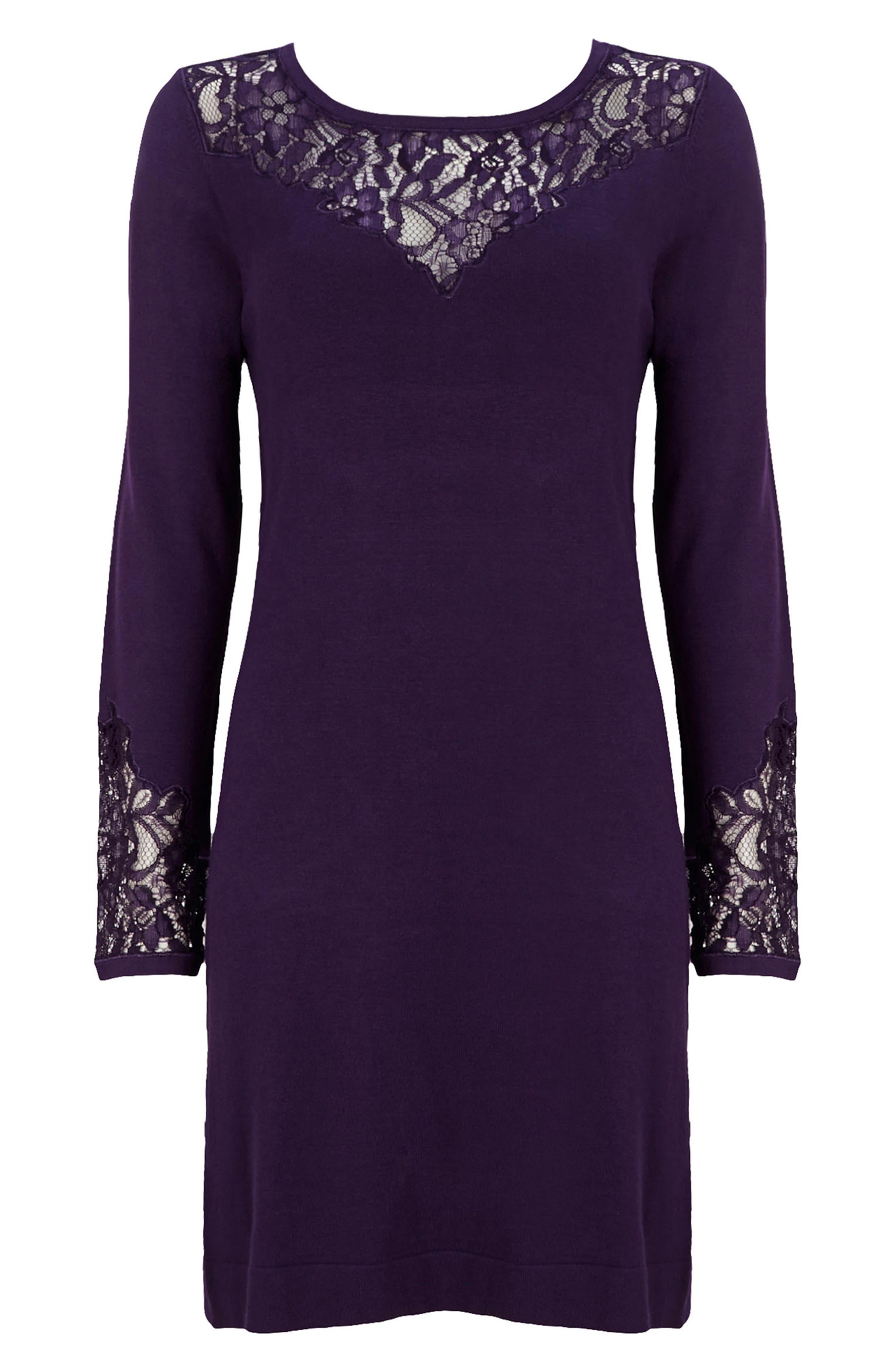 Lace Panel Shift Dress,                             Alternate thumbnail 8, color,