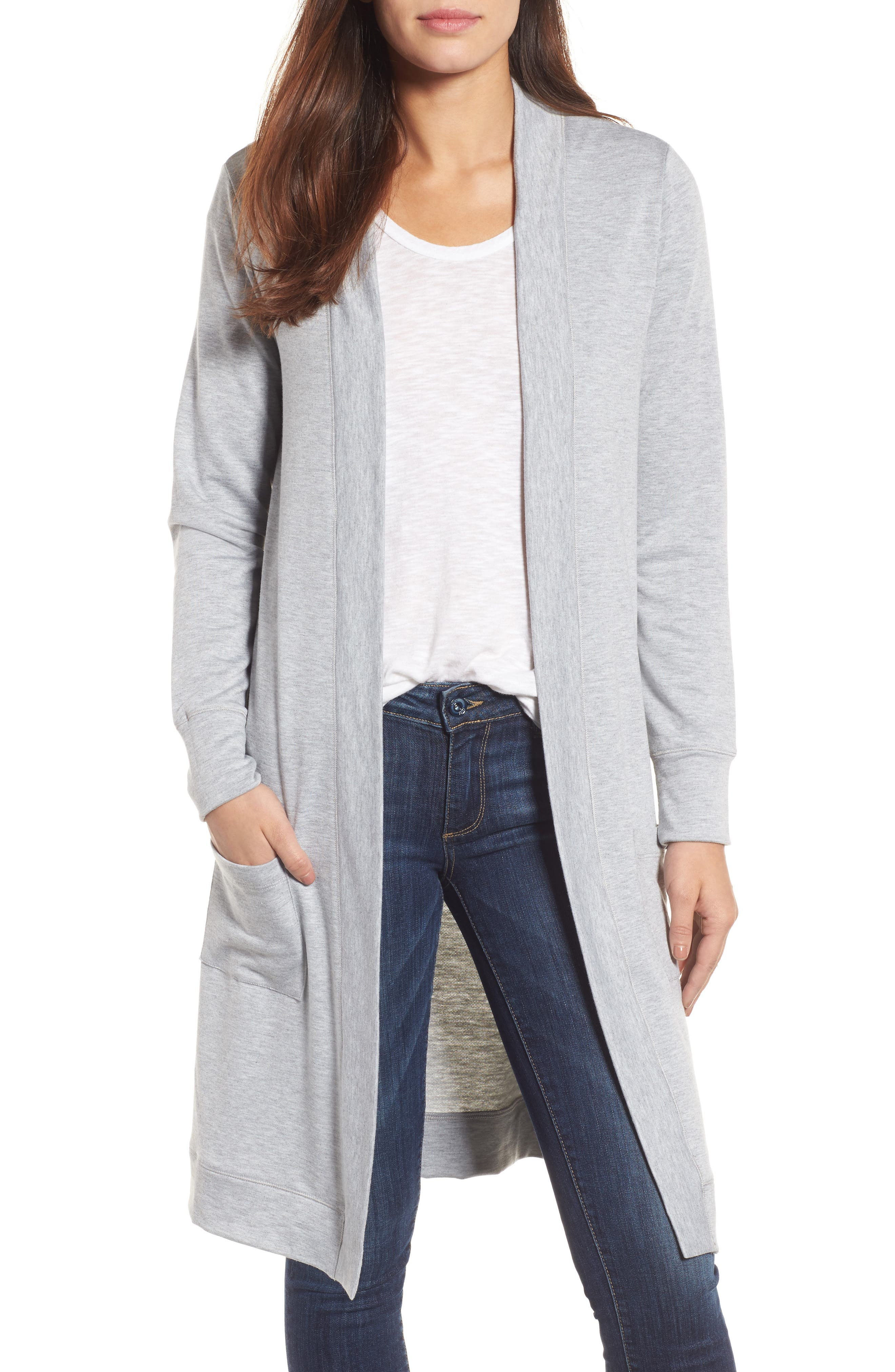 Long French Terry Cardigan,                             Main thumbnail 2, color,