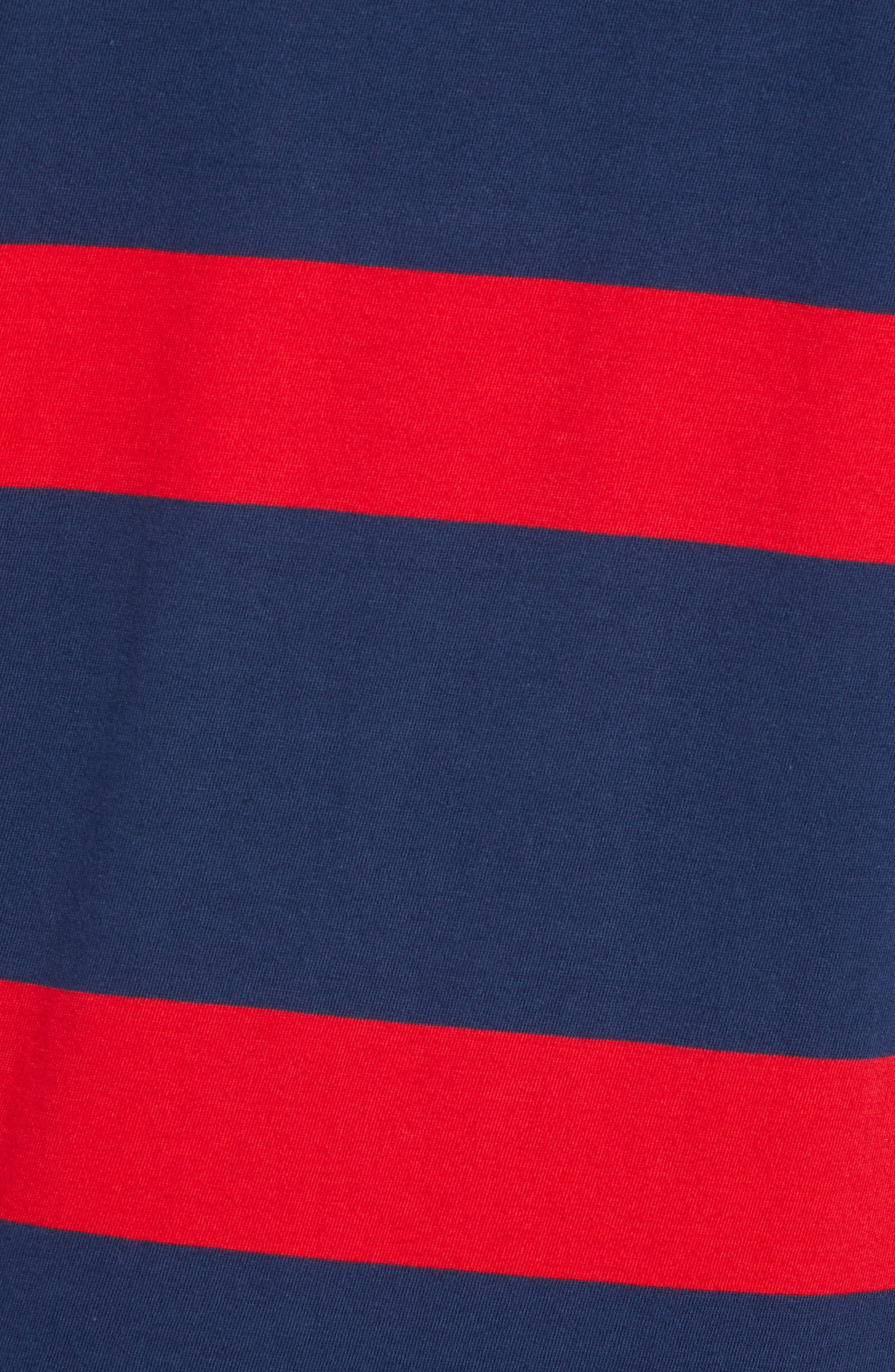 Stripe Pocket T-Shirt,                             Alternate thumbnail 5, color,                             DRESS BLUES/ CRIMSON STRIPES