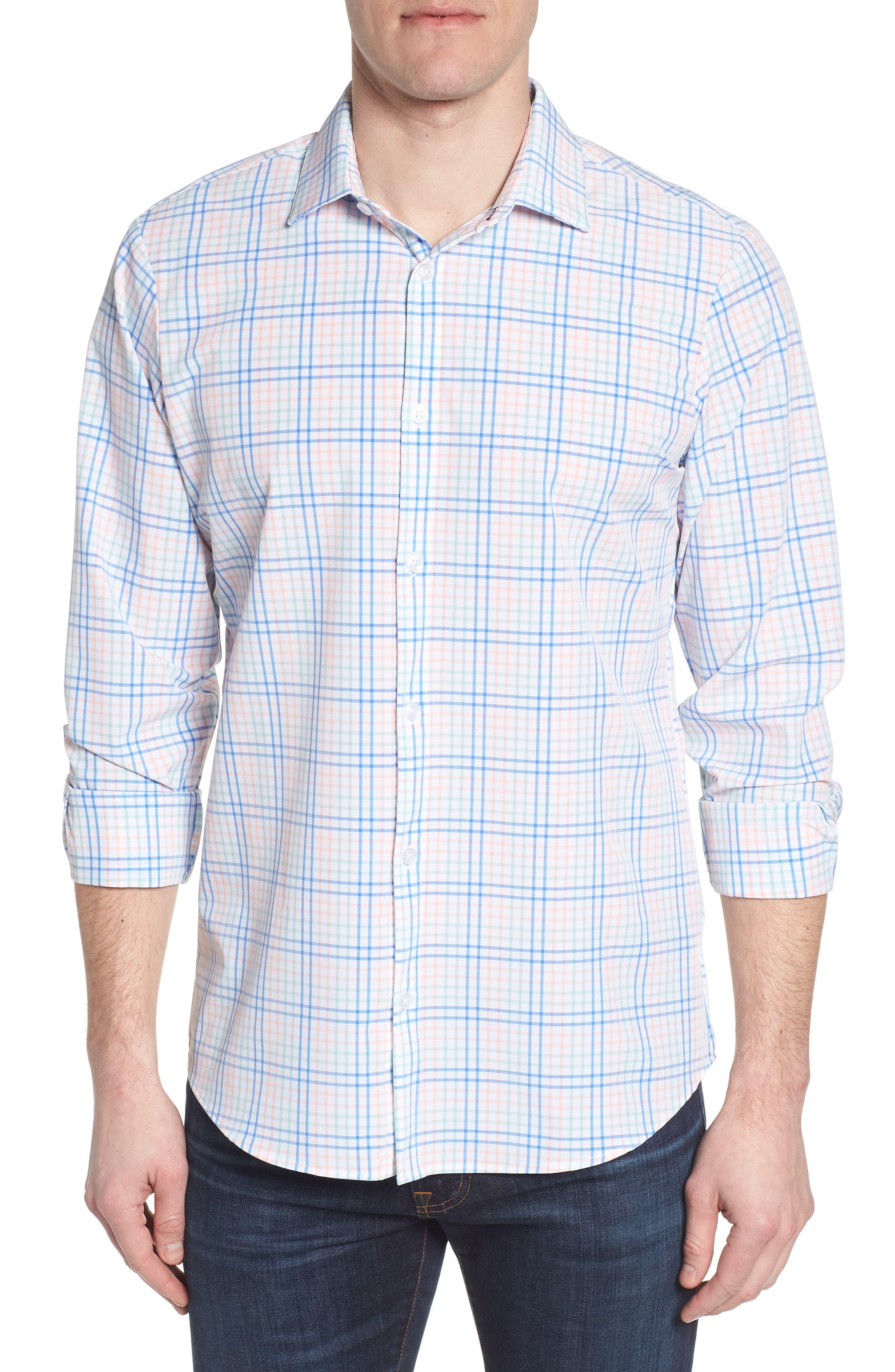 Newton Plaid Performance Sport Shirt,                         Main,                         color, 355