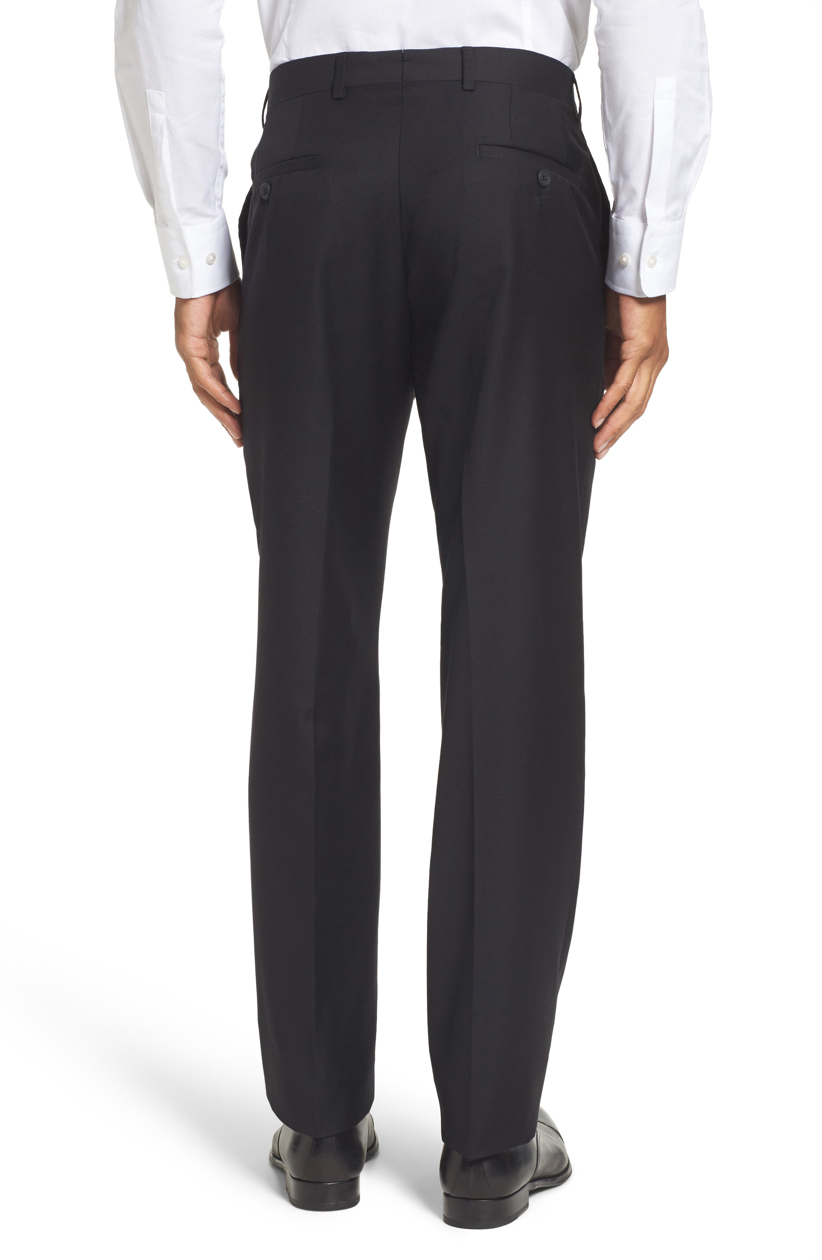 Flat Front Solid Wool Trousers,                             Alternate thumbnail 3, color,                             001