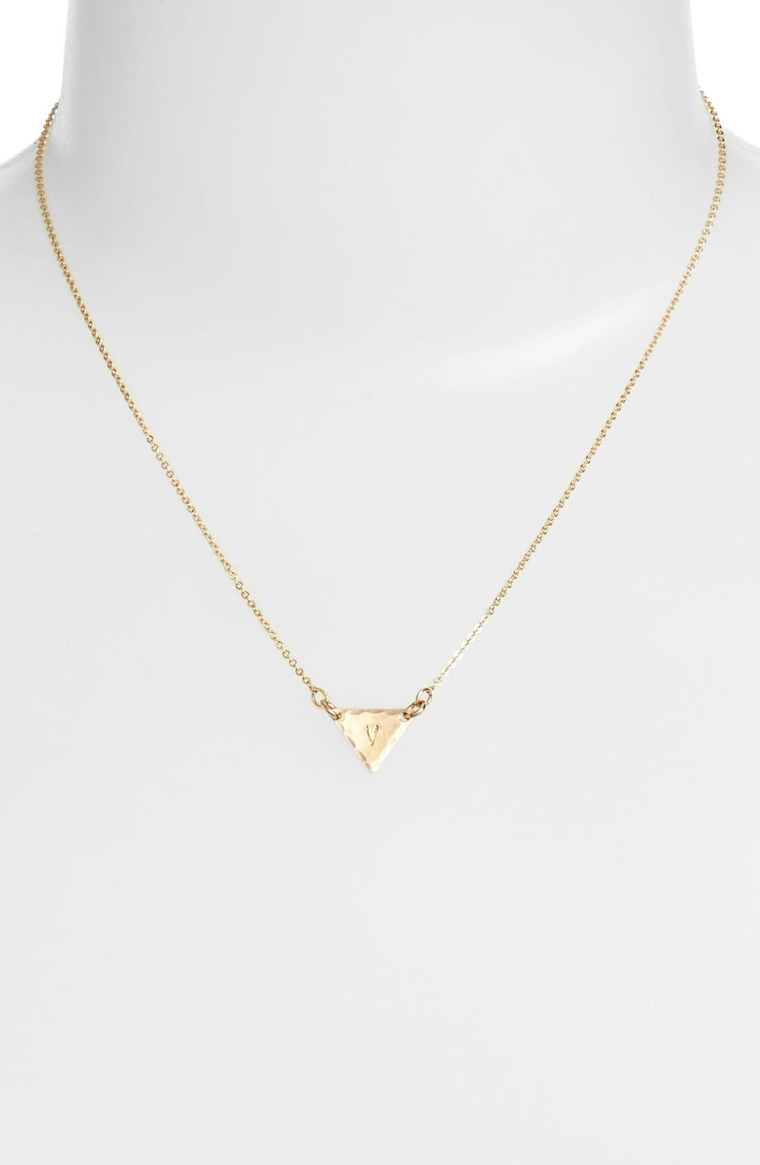 14k-Gold Fill Initial Triangle Necklace,                             Alternate thumbnail 48, color,