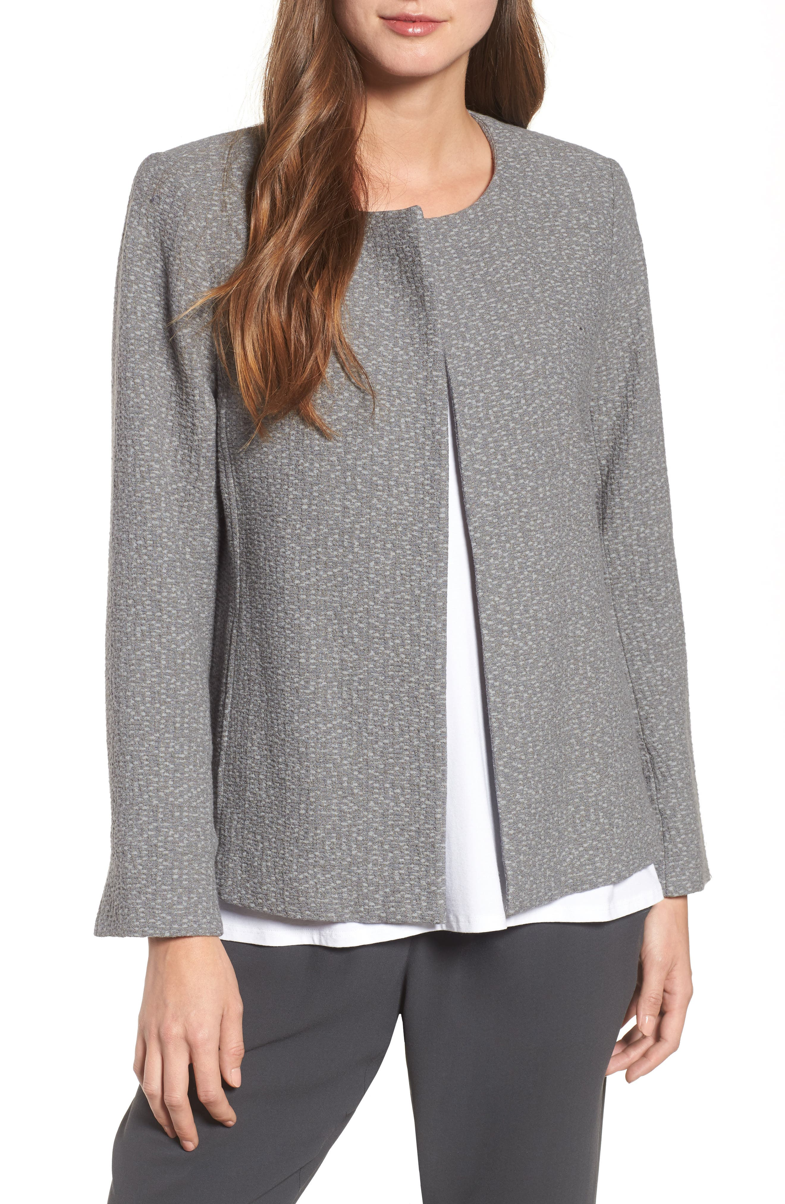 Open Front Round Neck Jacket,                             Main thumbnail 1, color,