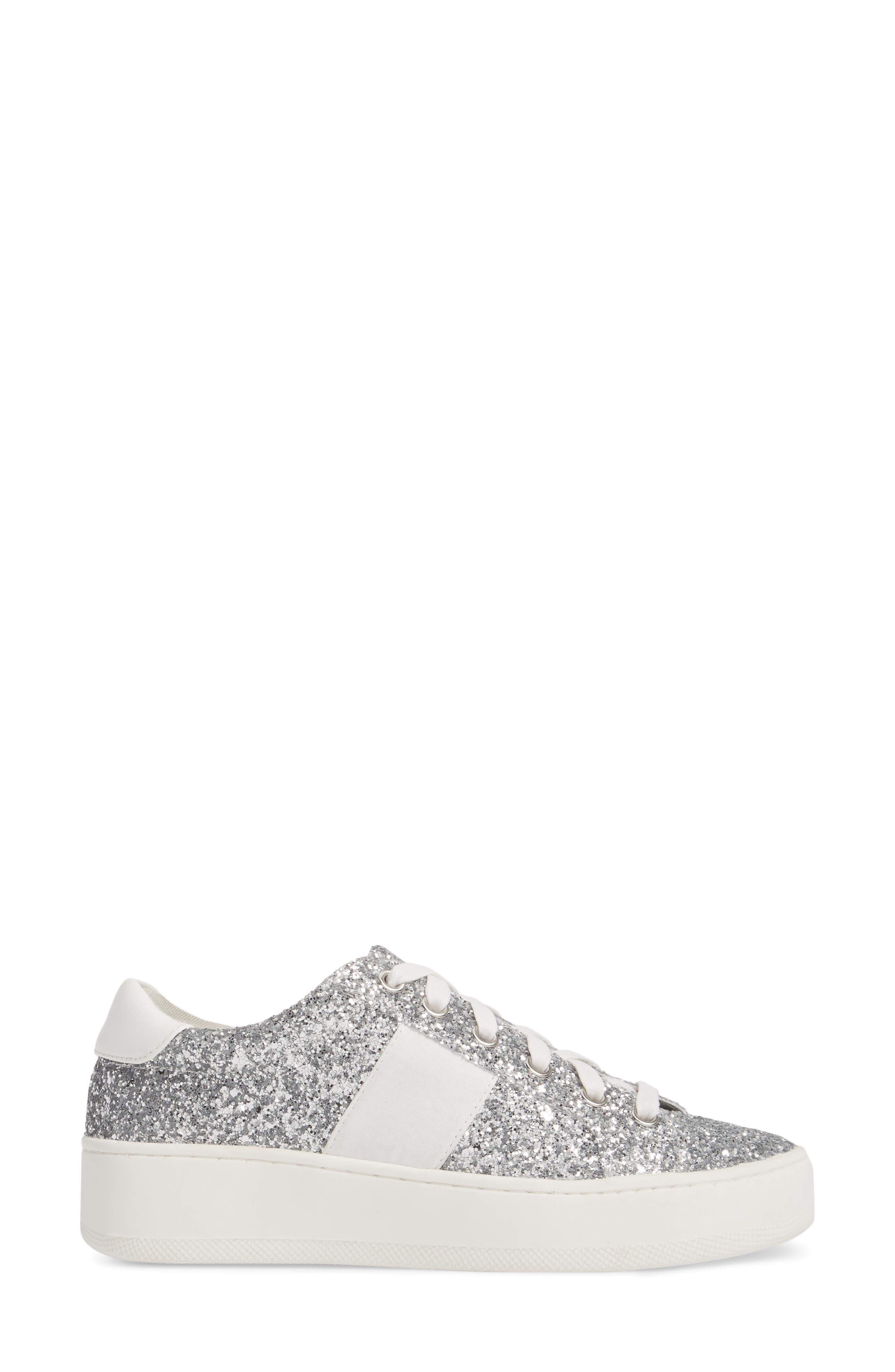 Belle-G Glitter Platform Sneaker,                             Alternate thumbnail 3, color,                             SILVER GLITTER