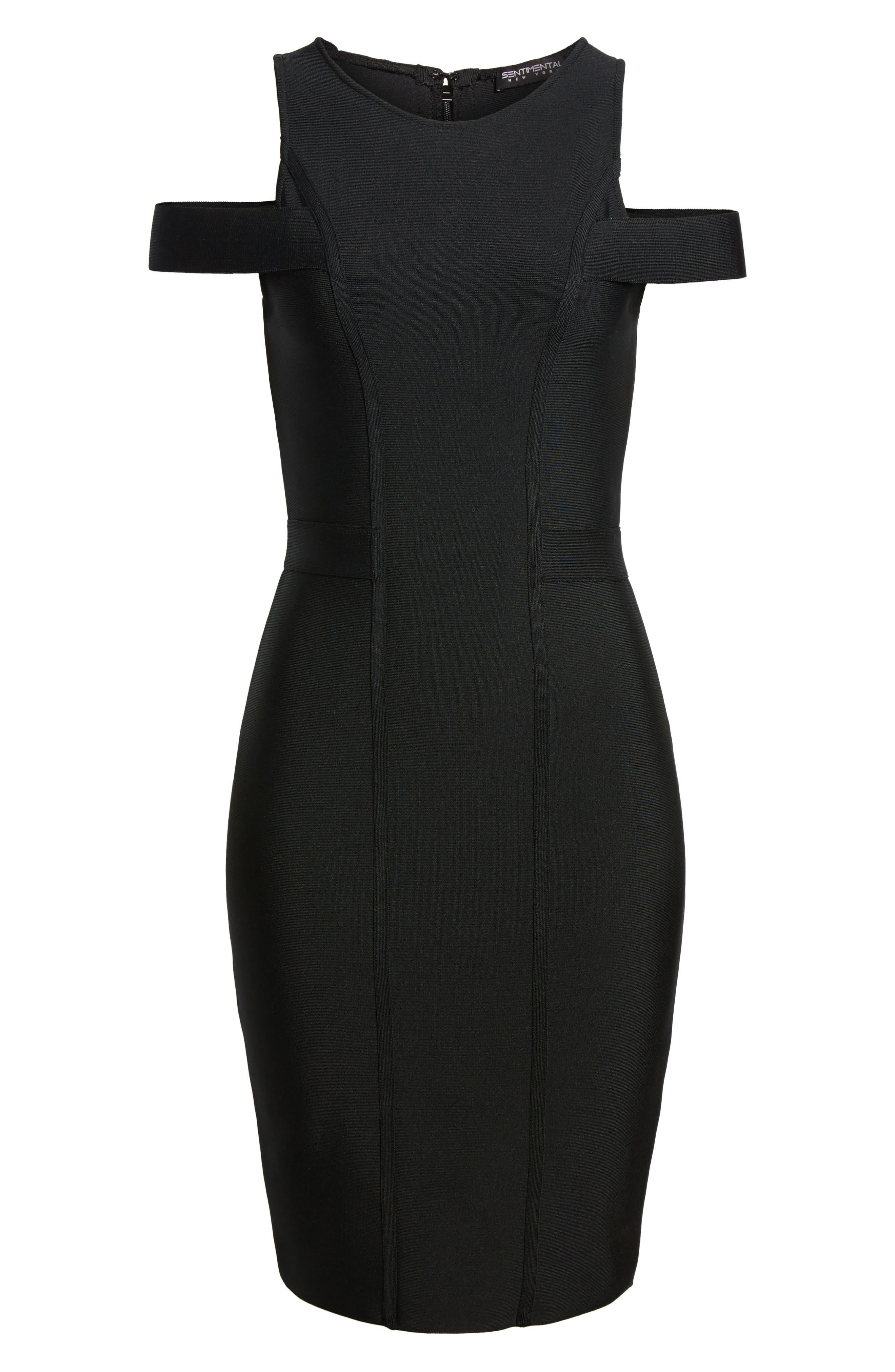 Cold Shoulder Body-Con Dress,                             Alternate thumbnail 6, color,                             BLACK