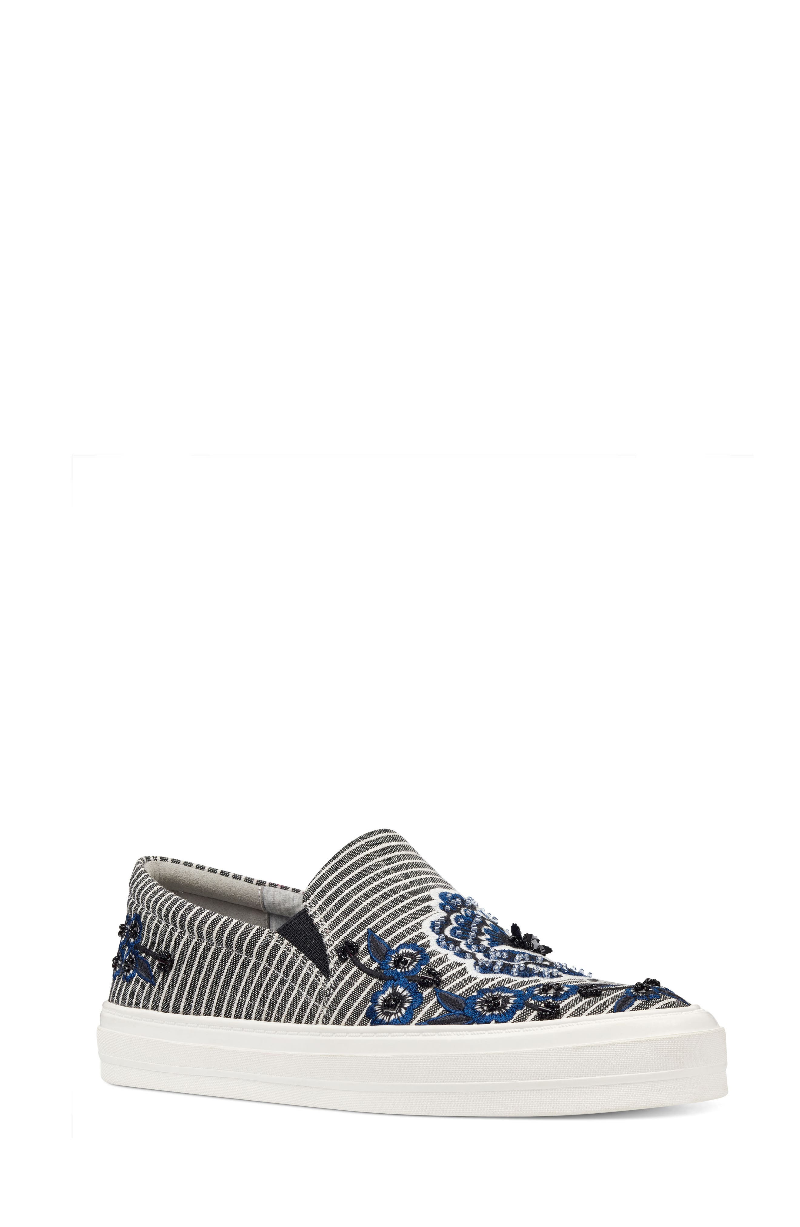 Onyeka Embroidered Slip-On Sneaker,                             Main thumbnail 1, color,                             001