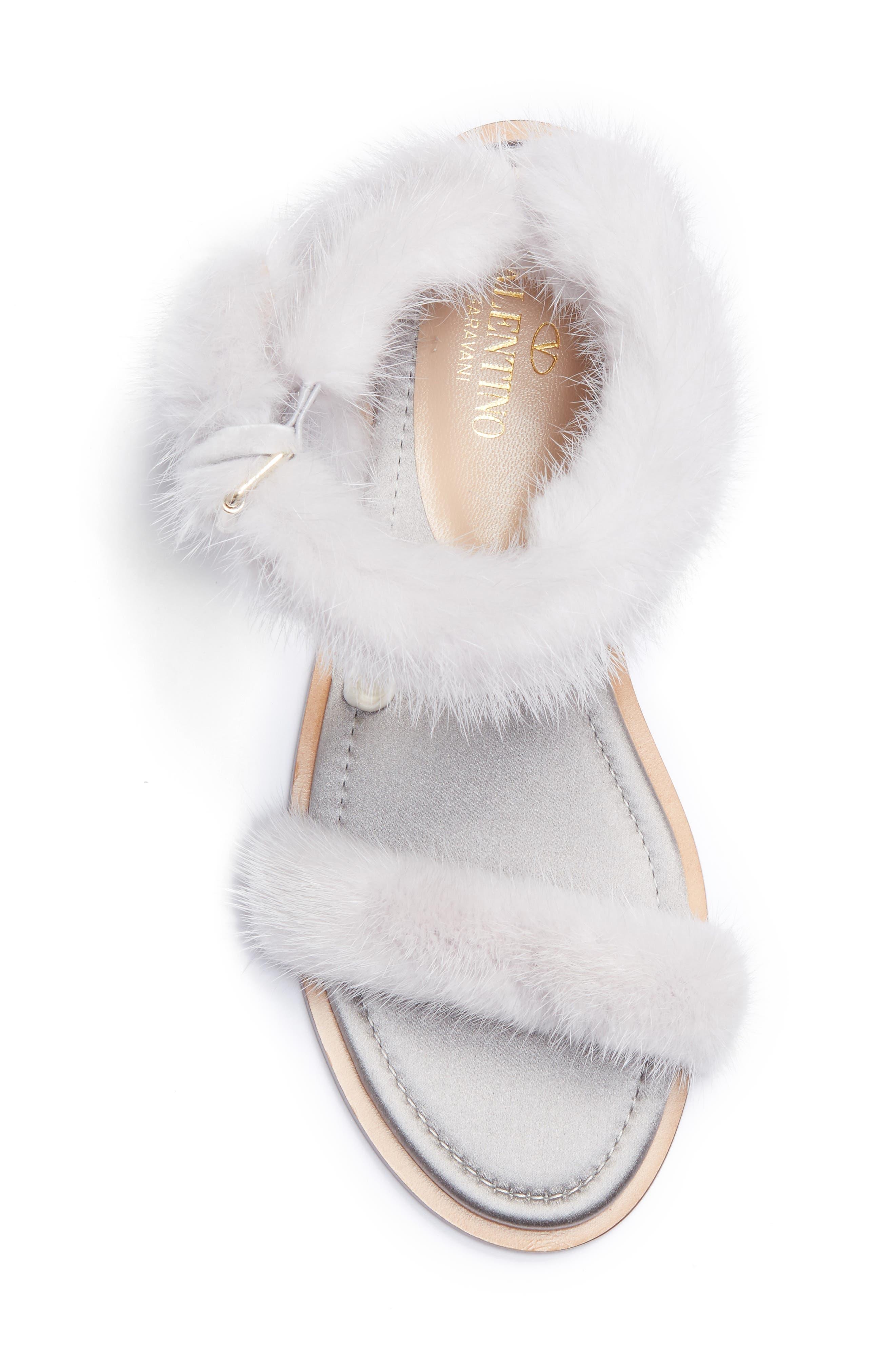 Genuine Mink Fur Sandal,                             Alternate thumbnail 5, color,                             030