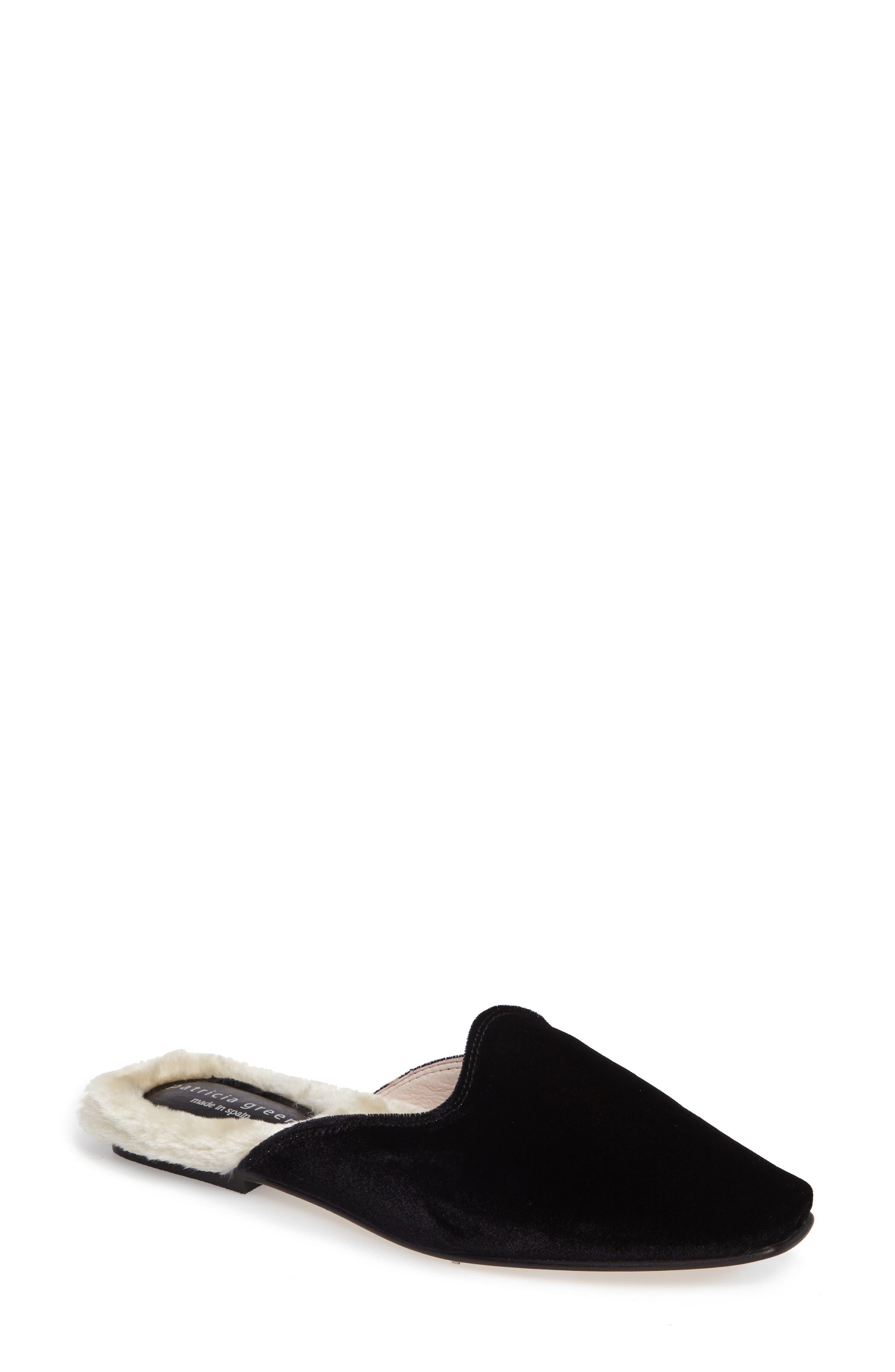 Velvet Mule with Faux Fur Lining,                         Main,                         color, 001