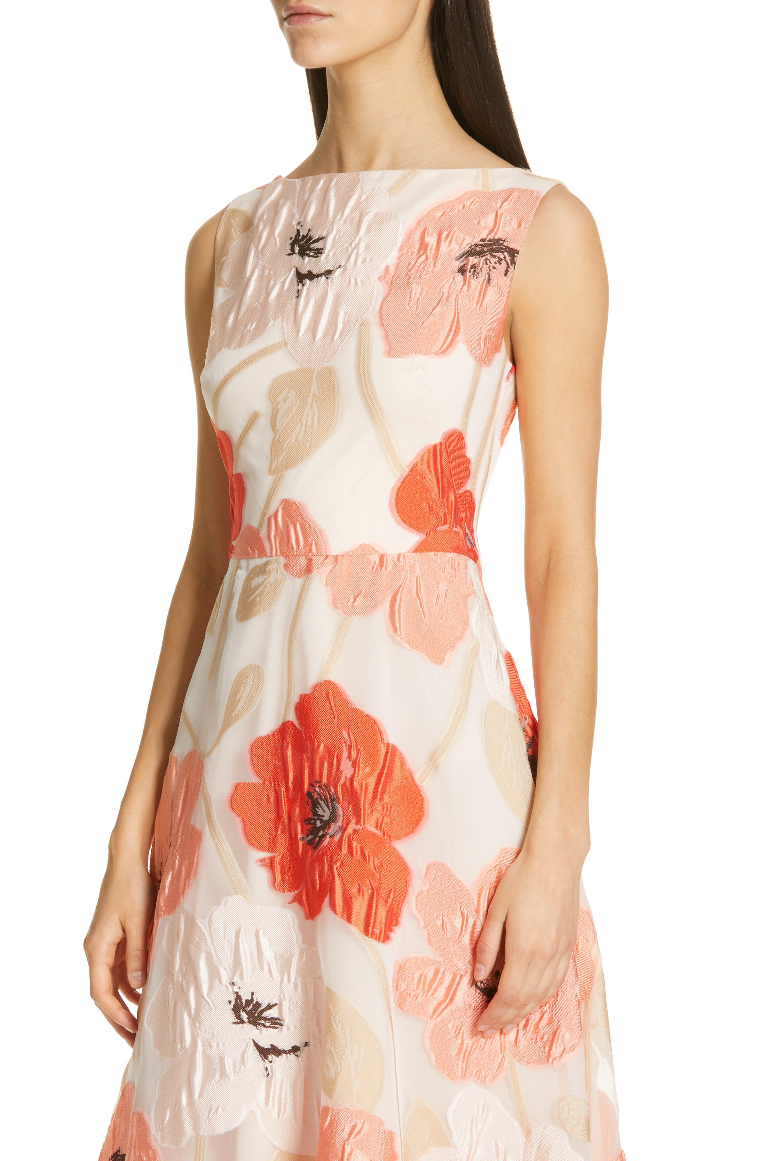LELA ROSE,                             Oversize Floral Fil Coupé Midi Dress,                             Alternate thumbnail 4, color,                             CORAL MULTI