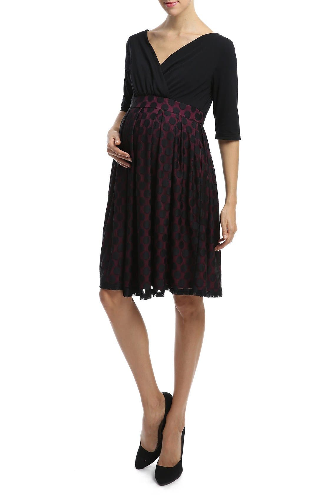 KIMI AND KAI,                             'Liliana' Polka Dot Lace Maternity Dress,                             Alternate thumbnail 4, color,                             003