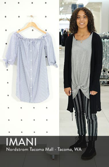 Stripe Off-the-shoulder Poplin Shirtdress, sales video thumbnail