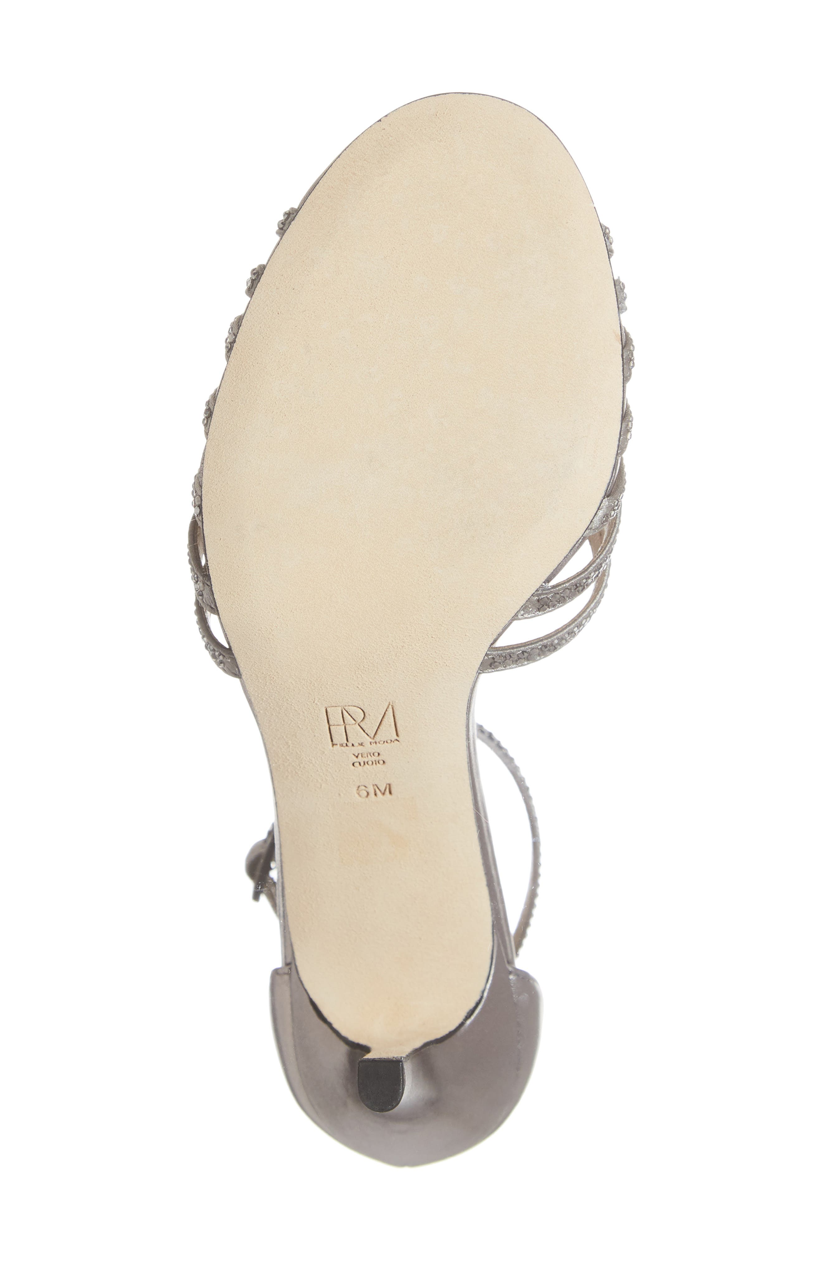 Rochell Crystal Embellished Sandal,                             Alternate thumbnail 6, color,                             PEWTER FABRIC
