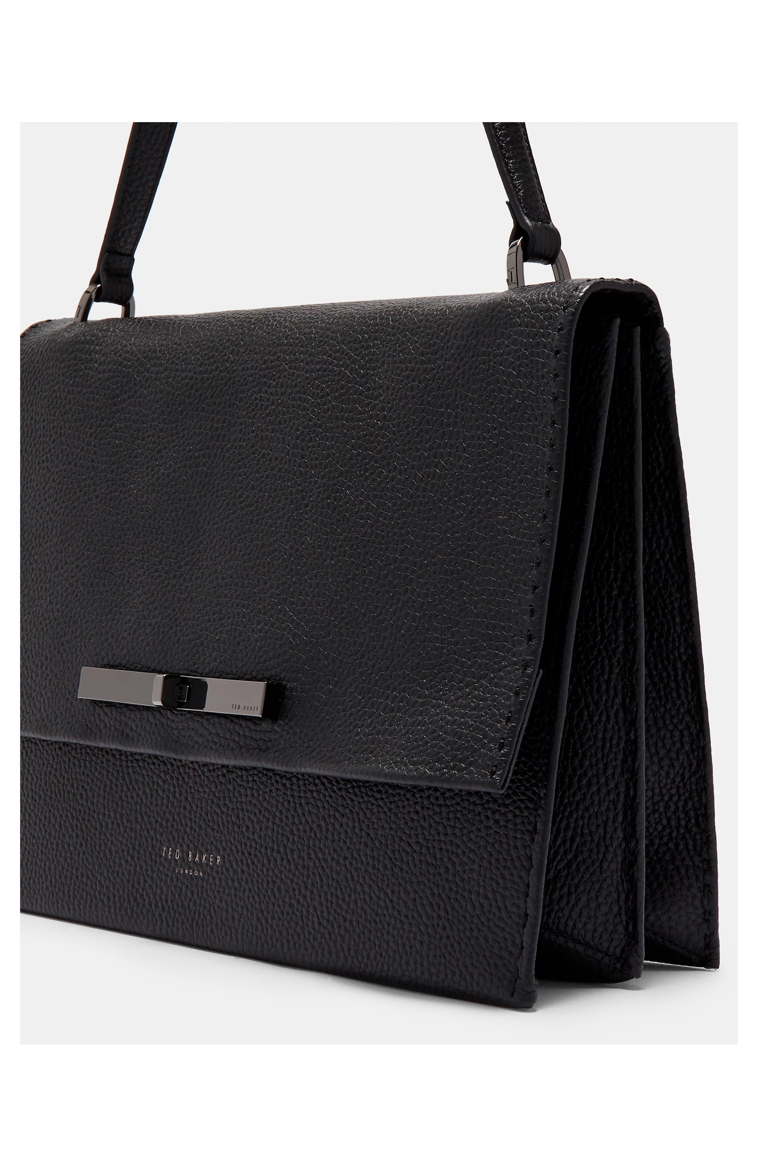 Jessi Leather Shoulder Bag,                             Alternate thumbnail 5, color,                             BLACK