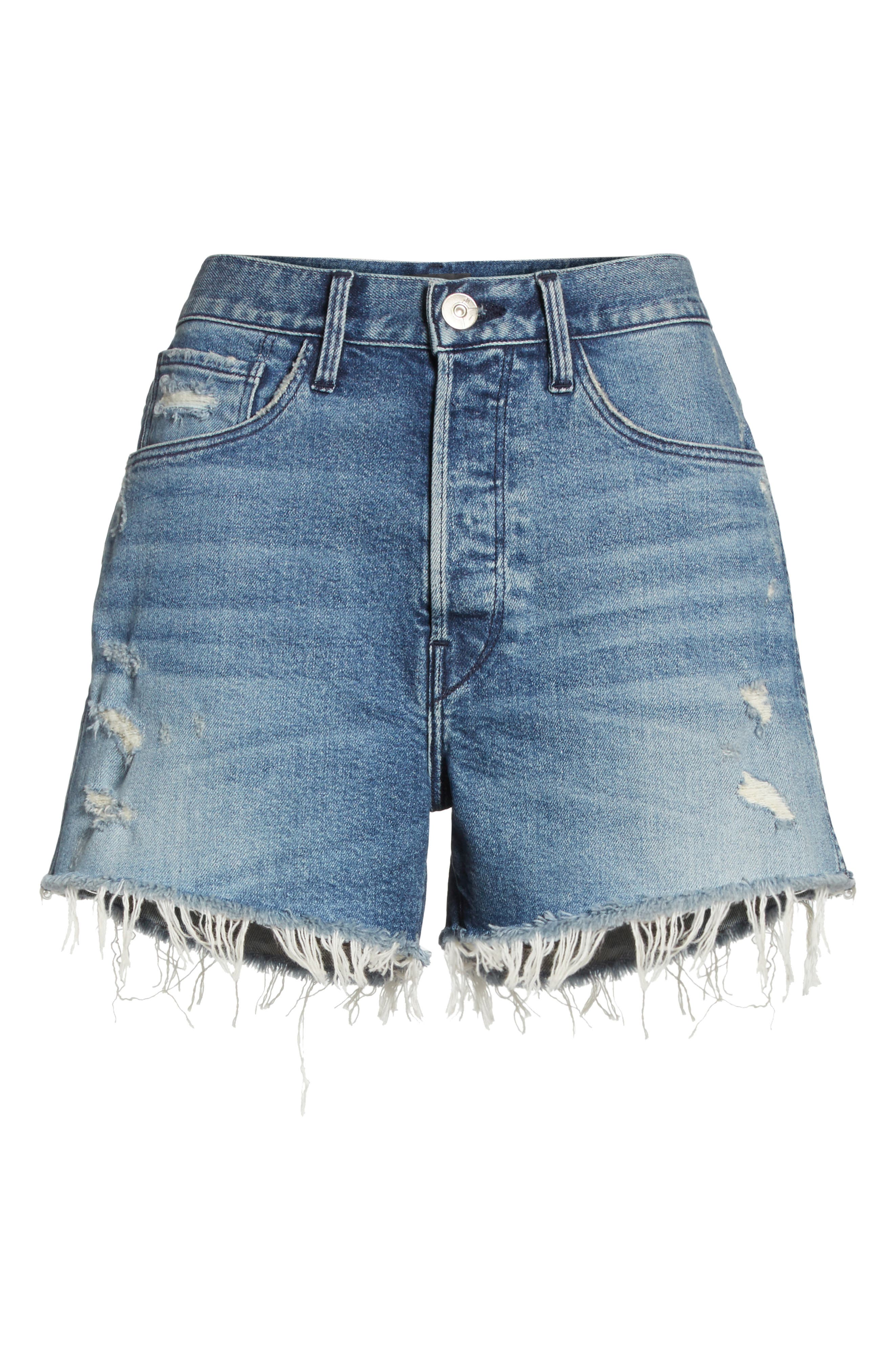 W4 Blake Raw Hem Denim Shorts,                             Alternate thumbnail 7, color,                             CHANCE