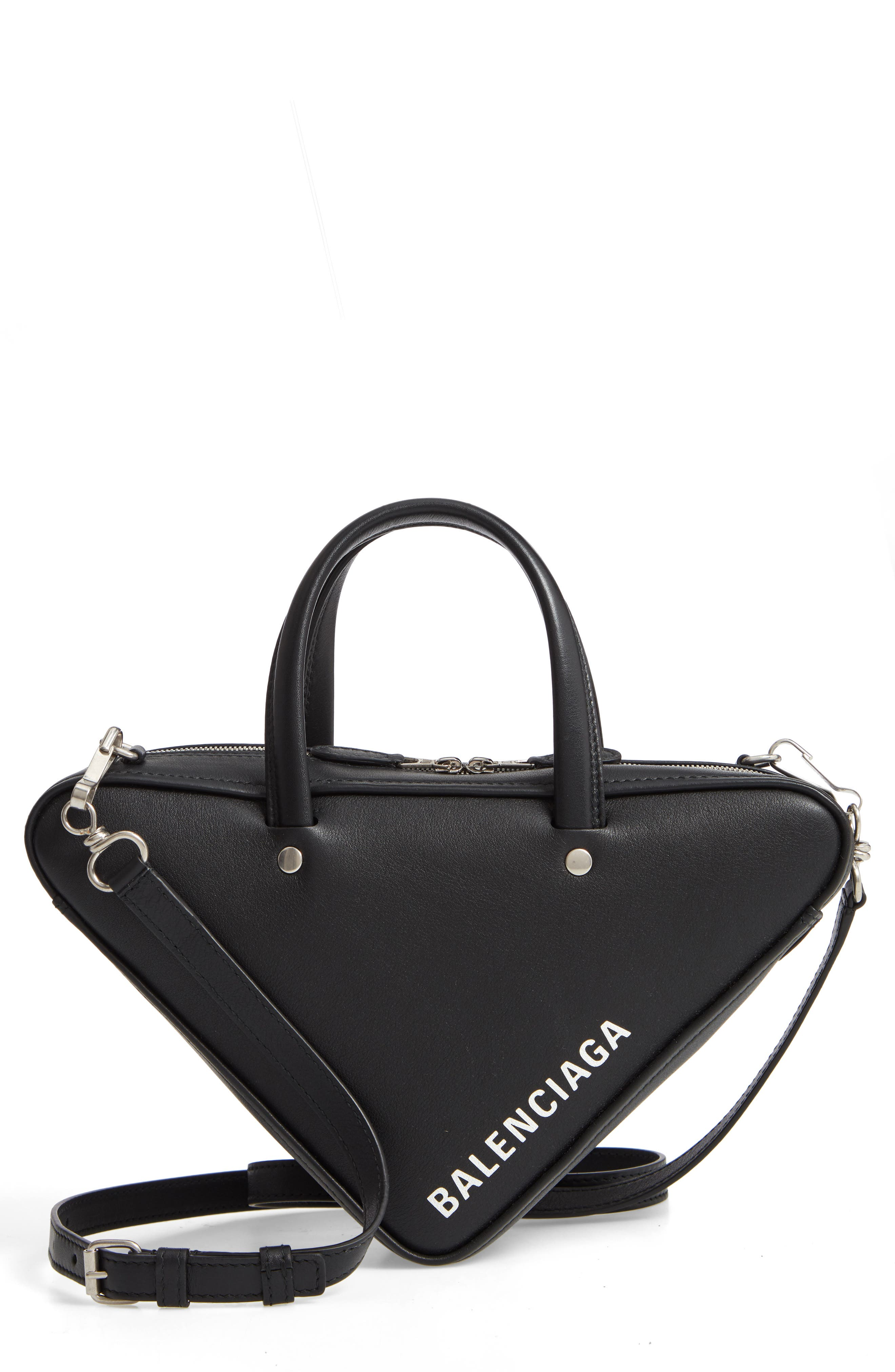 Extra Small Triangle Leather Bag,                             Main thumbnail 1, color,                             NOIR