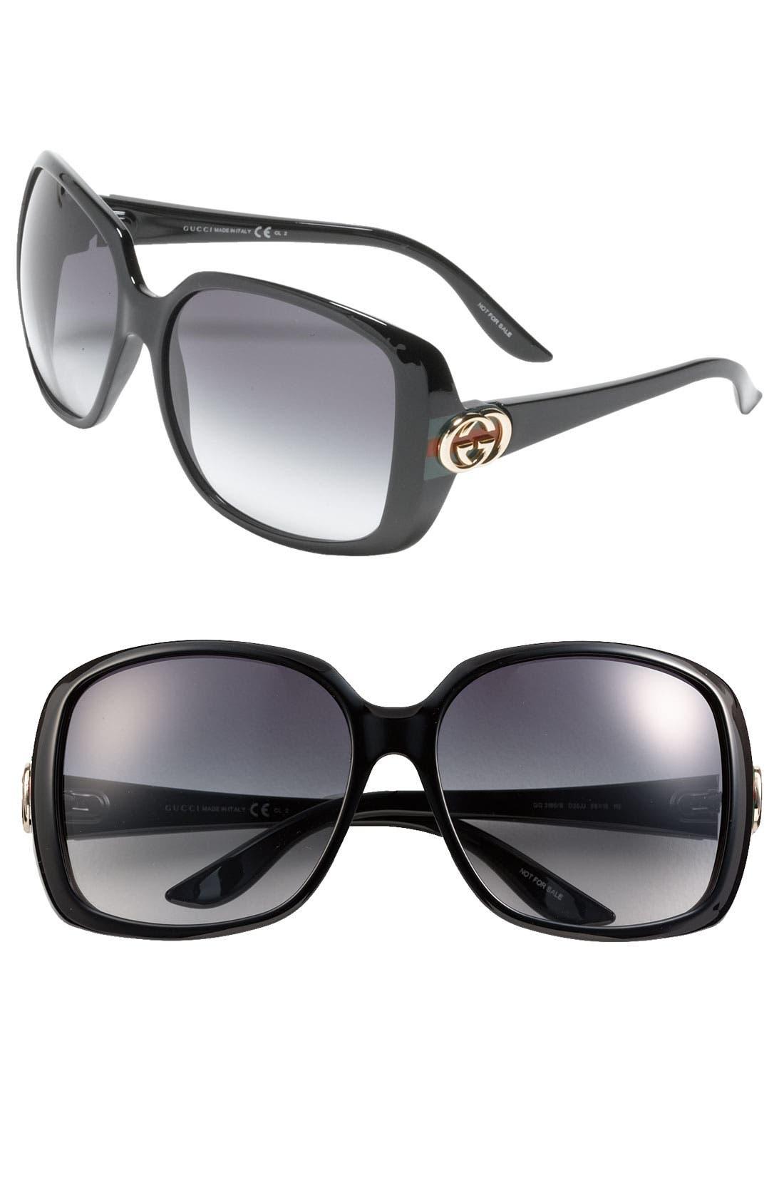 59mm Oversized Square Sunglasses, Main, color, 001