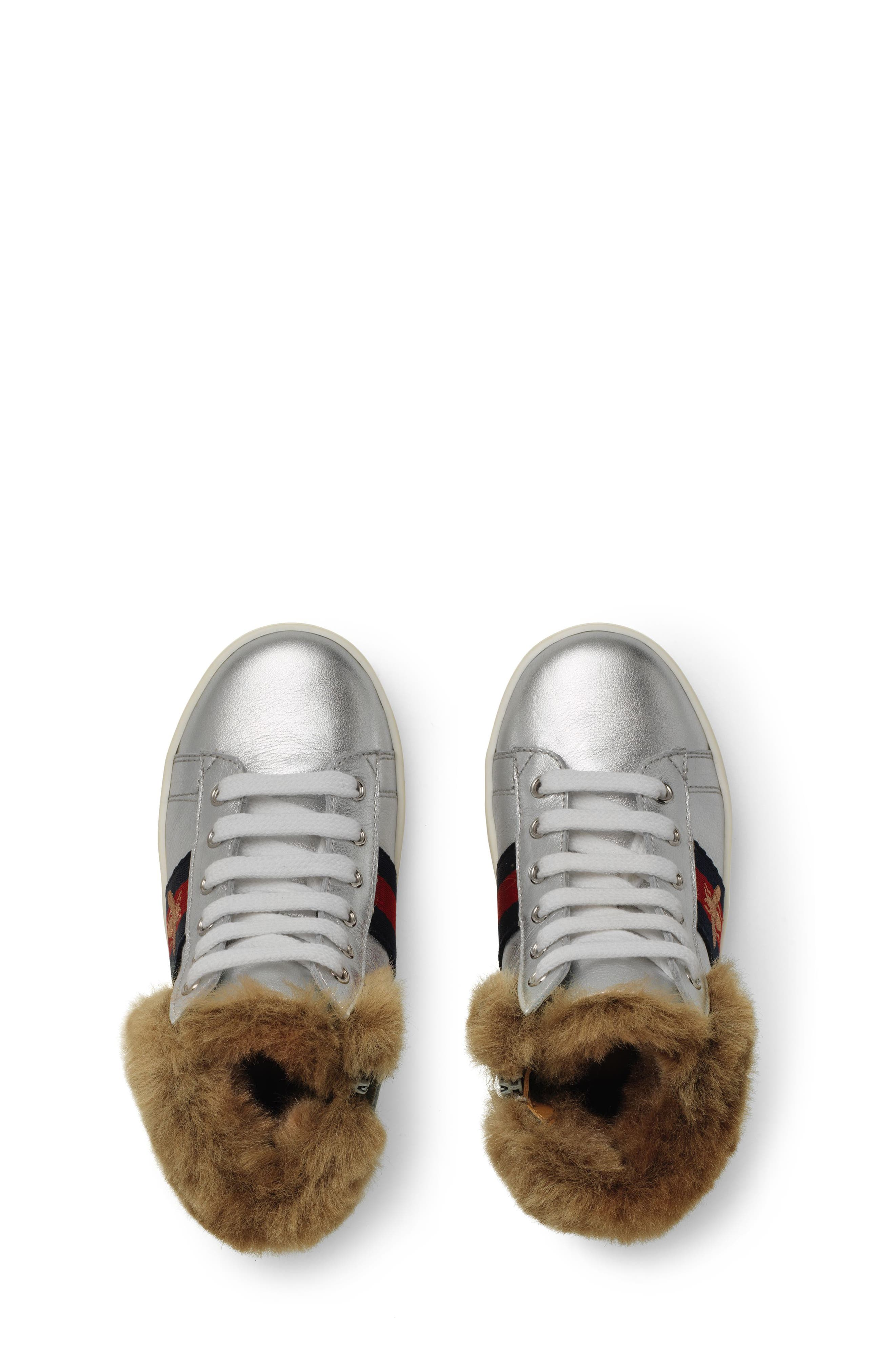 New Ace Faux Fur Trim High Top Sneaker,                             Alternate thumbnail 3, color,                             METALLIC SILVER