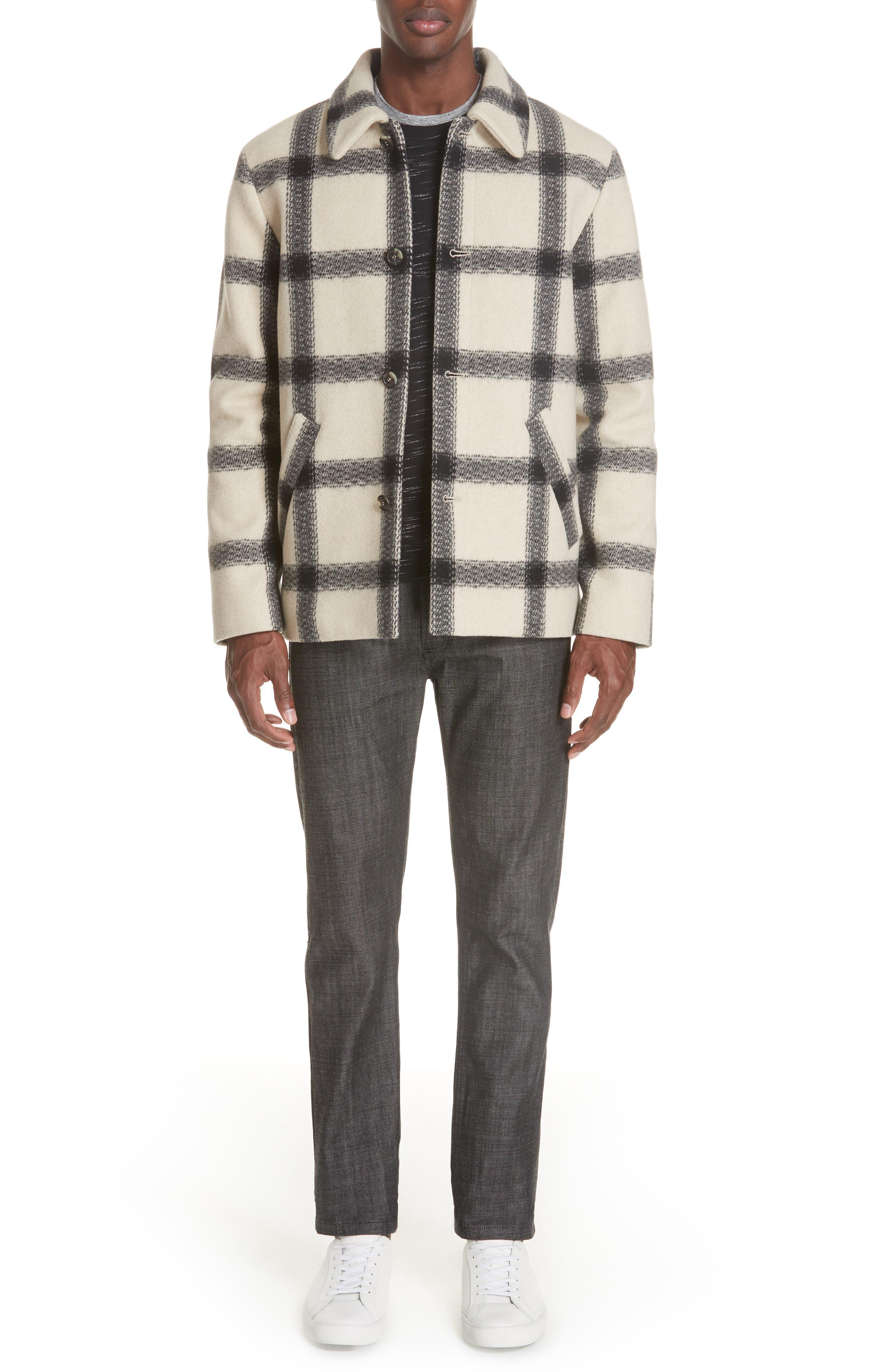 A.P.C.,                             Veste Vancouver Wool Flannel Jacket,                             Alternate thumbnail 7, color,                             ECRU AAD