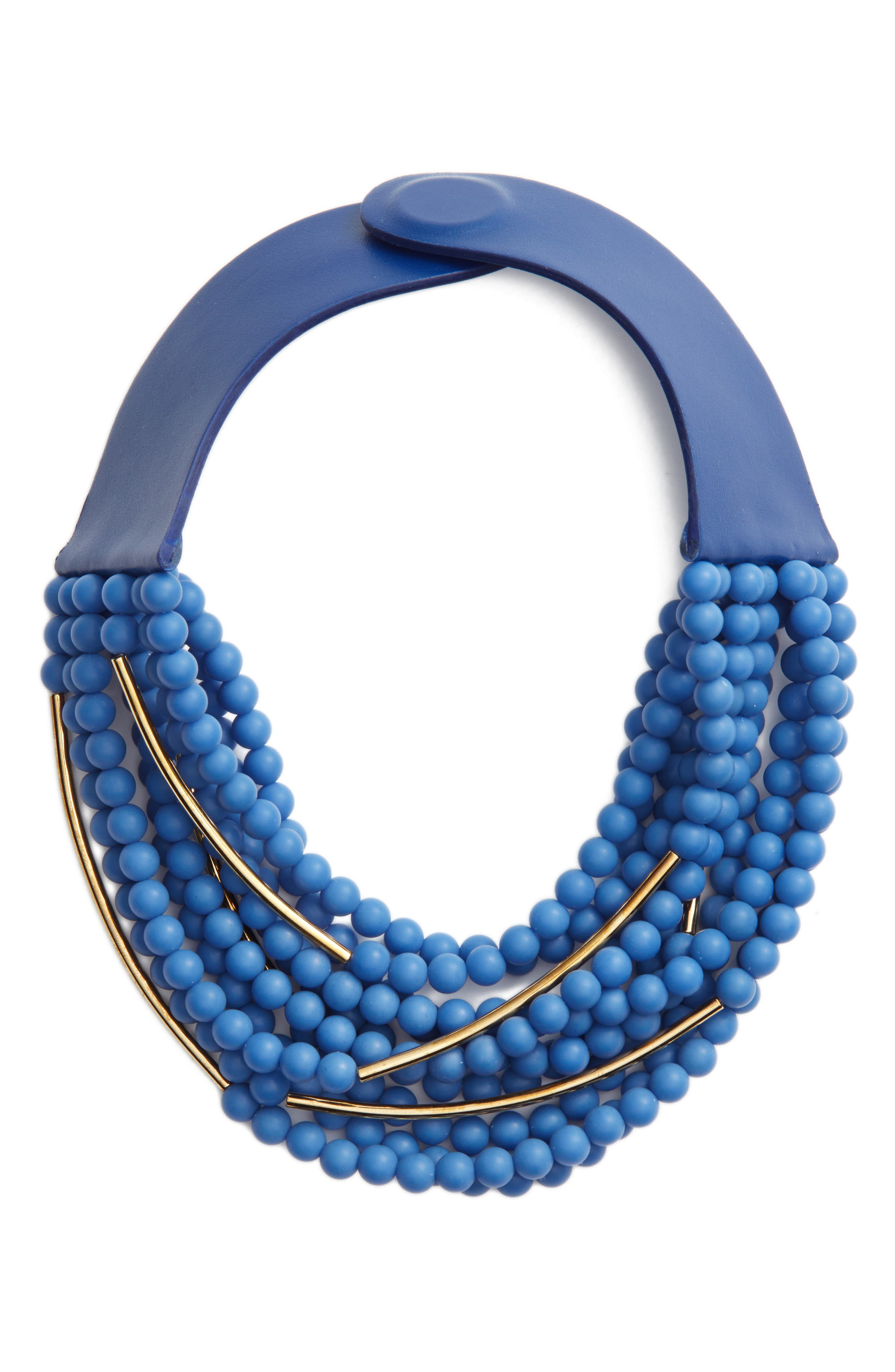 Mini Bella Beaded Collar Necklace,                         Main,                         color, ROYAL BLUE