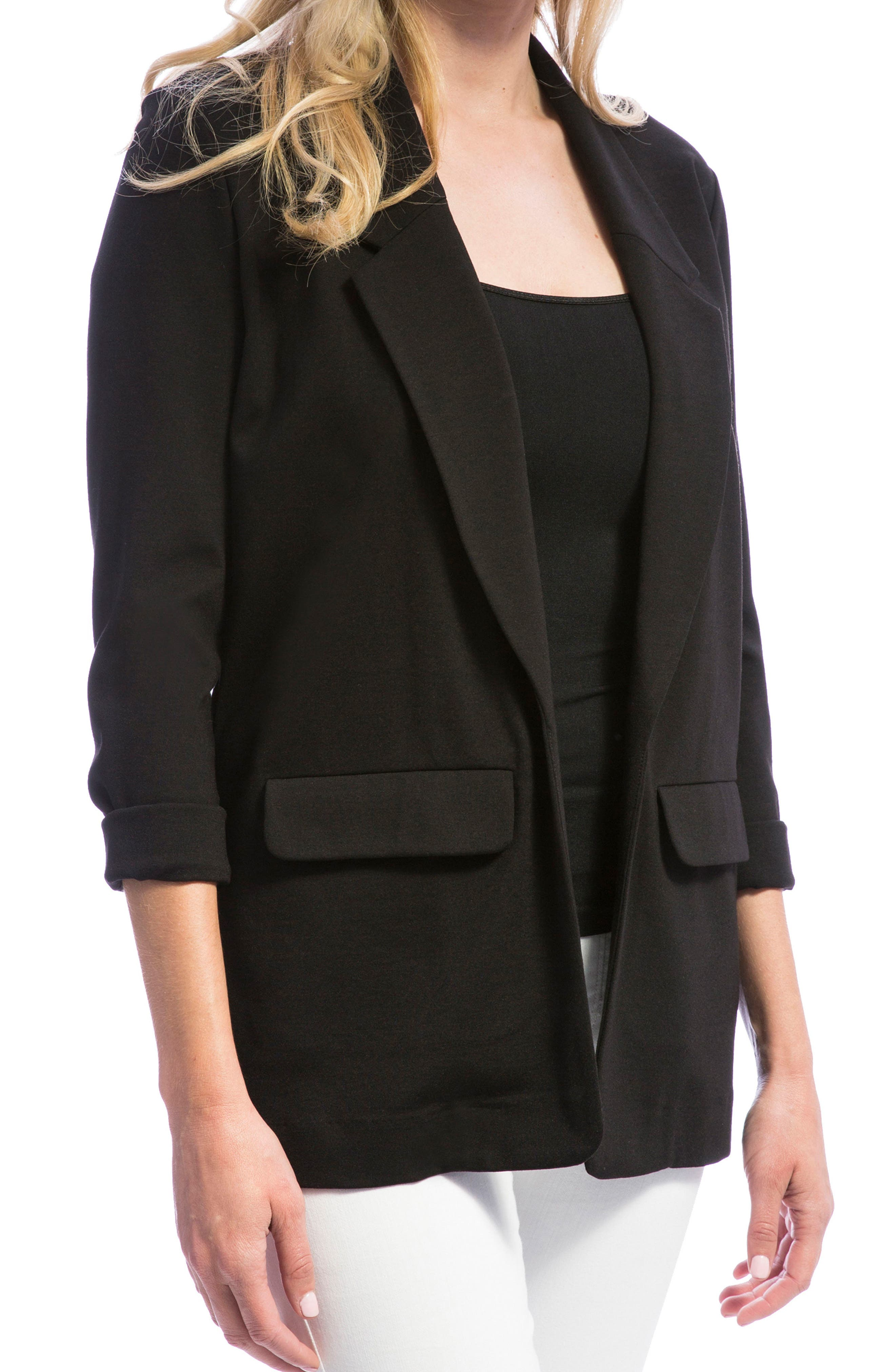 Knit Boyfriend Blazer,                             Main thumbnail 1, color,                             BLACK