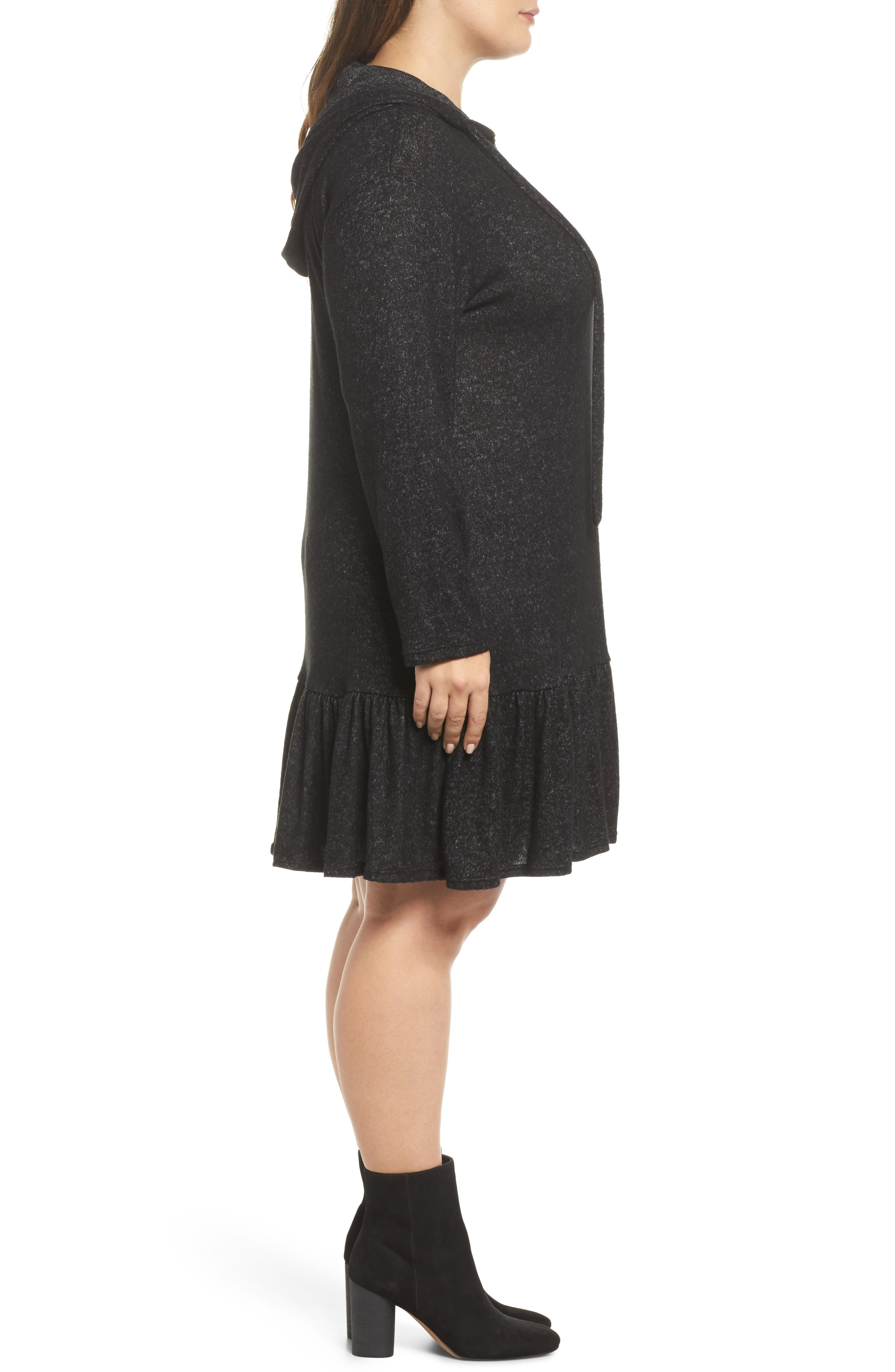 Peplum Hem Hoodie Dress,                             Alternate thumbnail 3, color,                             001