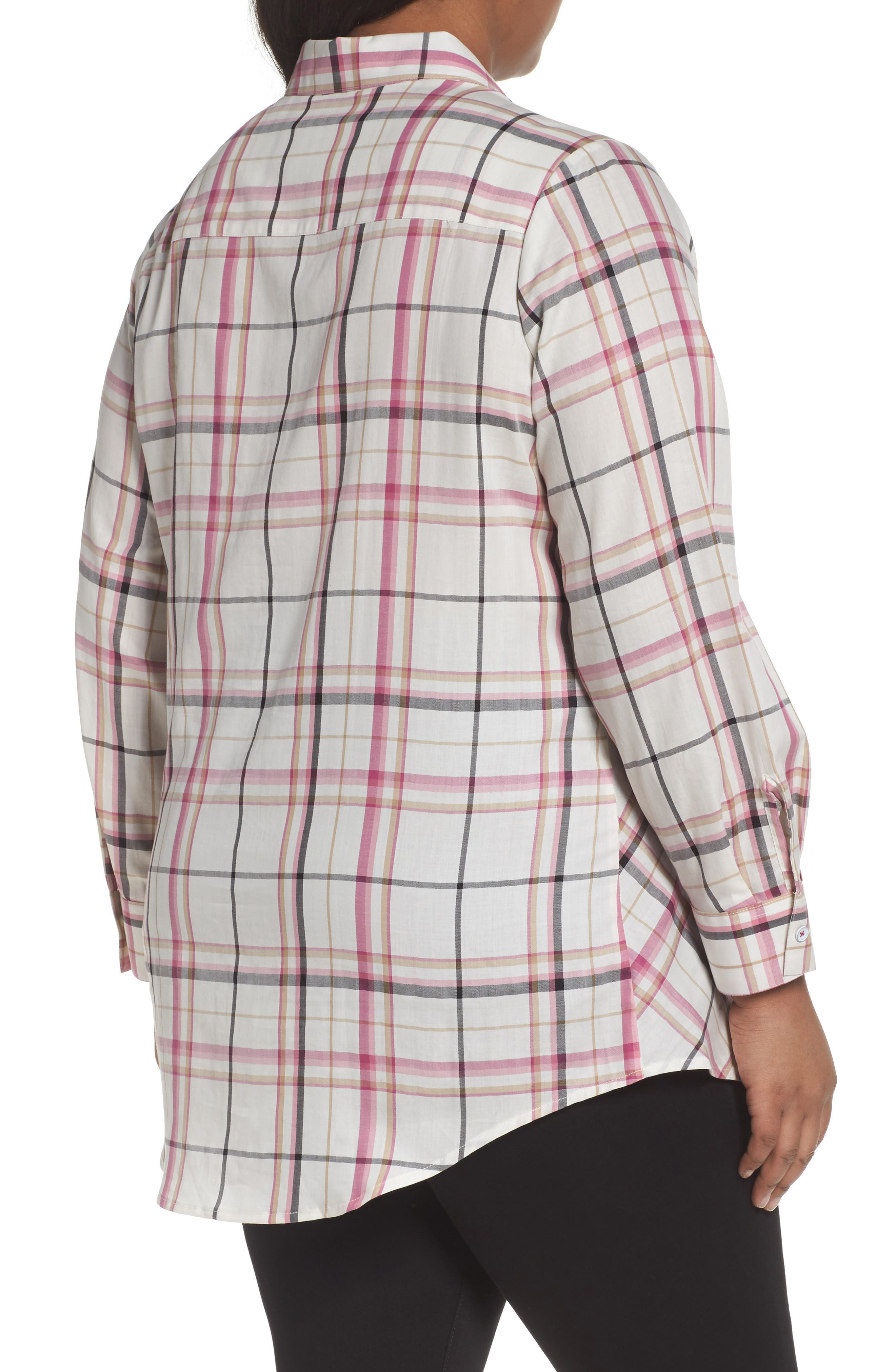 Cici Herringbone Plaid Tunic,                             Alternate thumbnail 2, color,                             ROSEBERRY