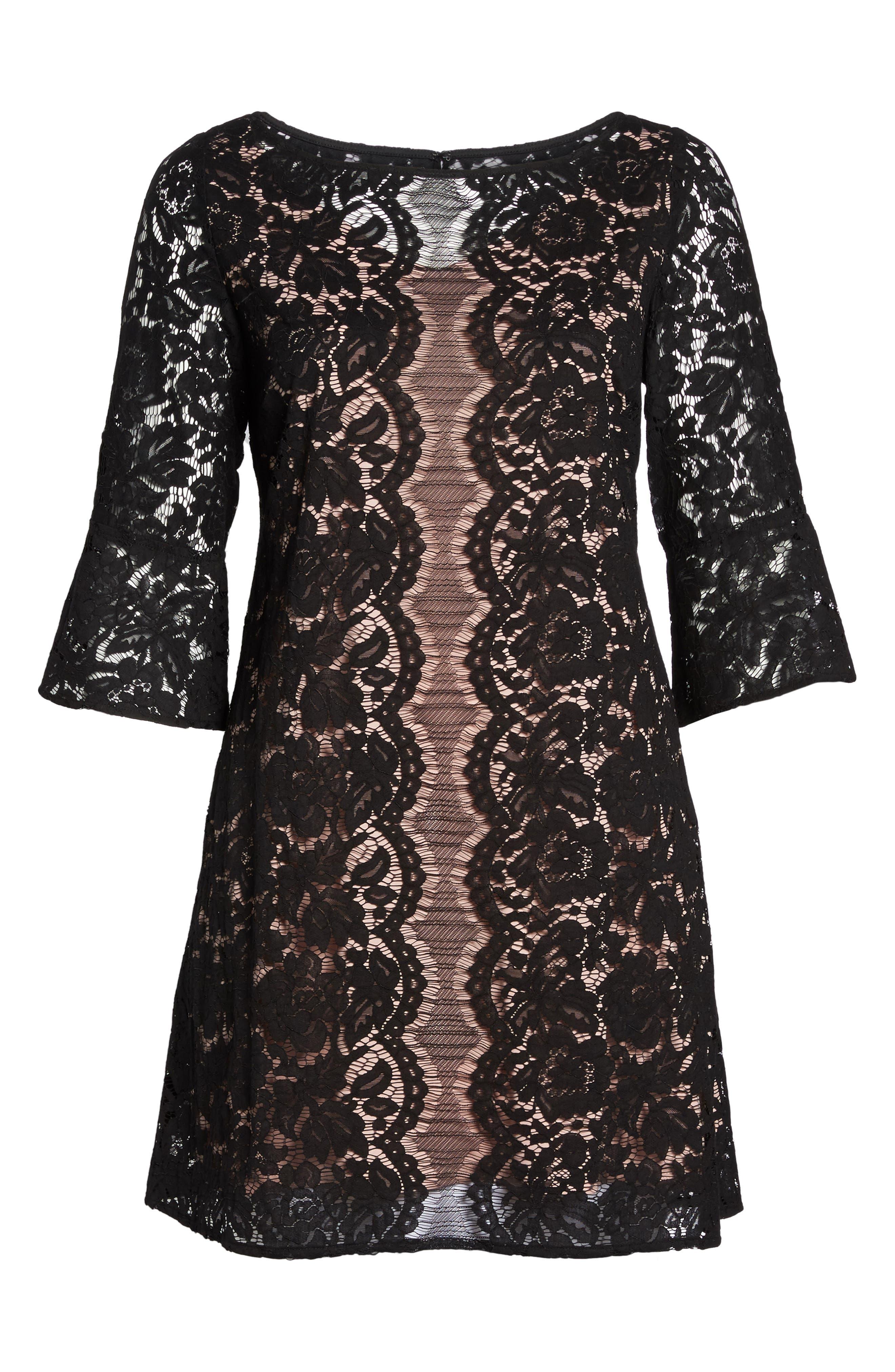 Lace A-Line Dress,                             Alternate thumbnail 6, color,                             001