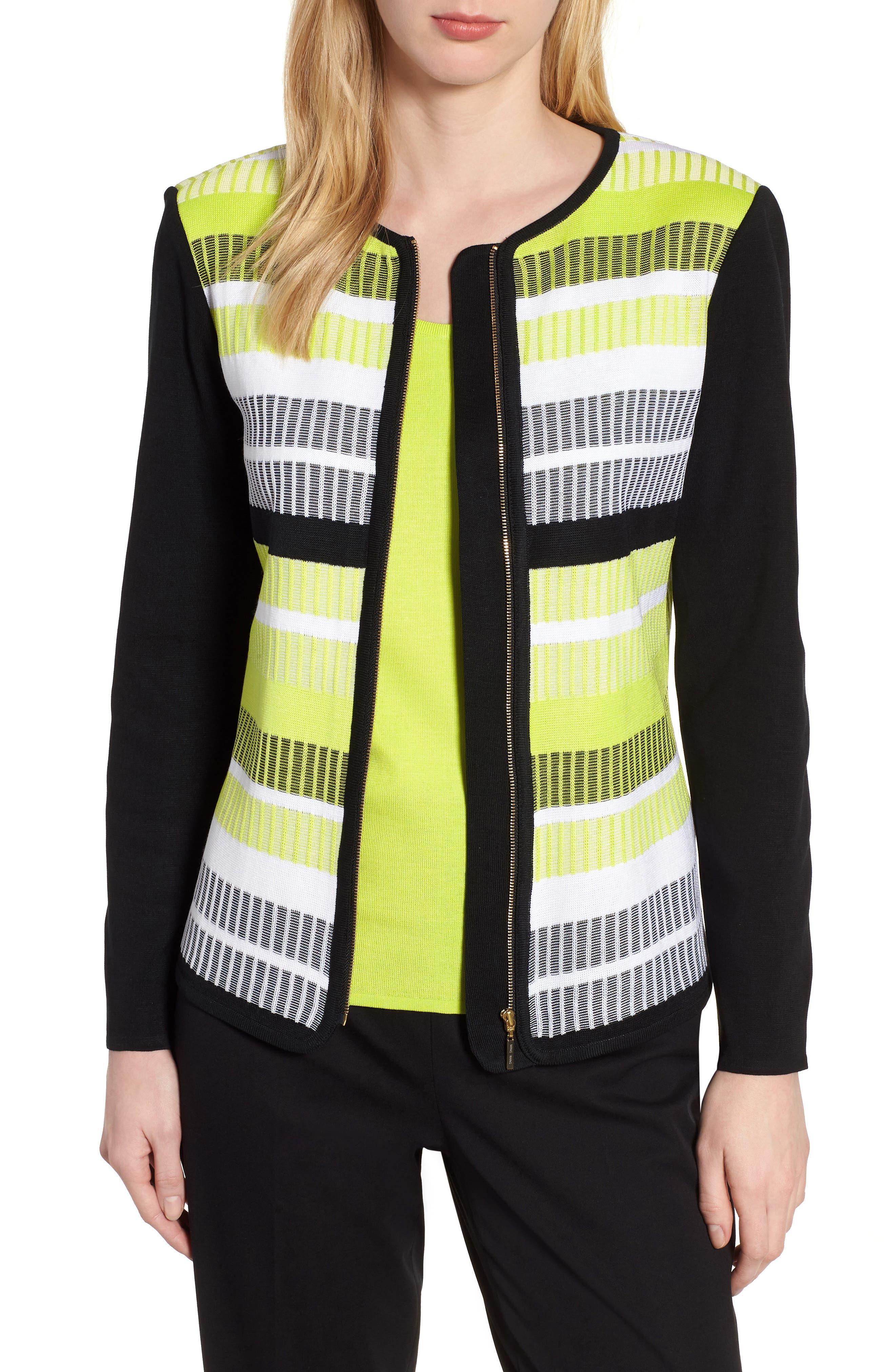 Long Sleeve Stripe Jacket,                         Main,                         color, BLACK/ PEAR/ WHITE