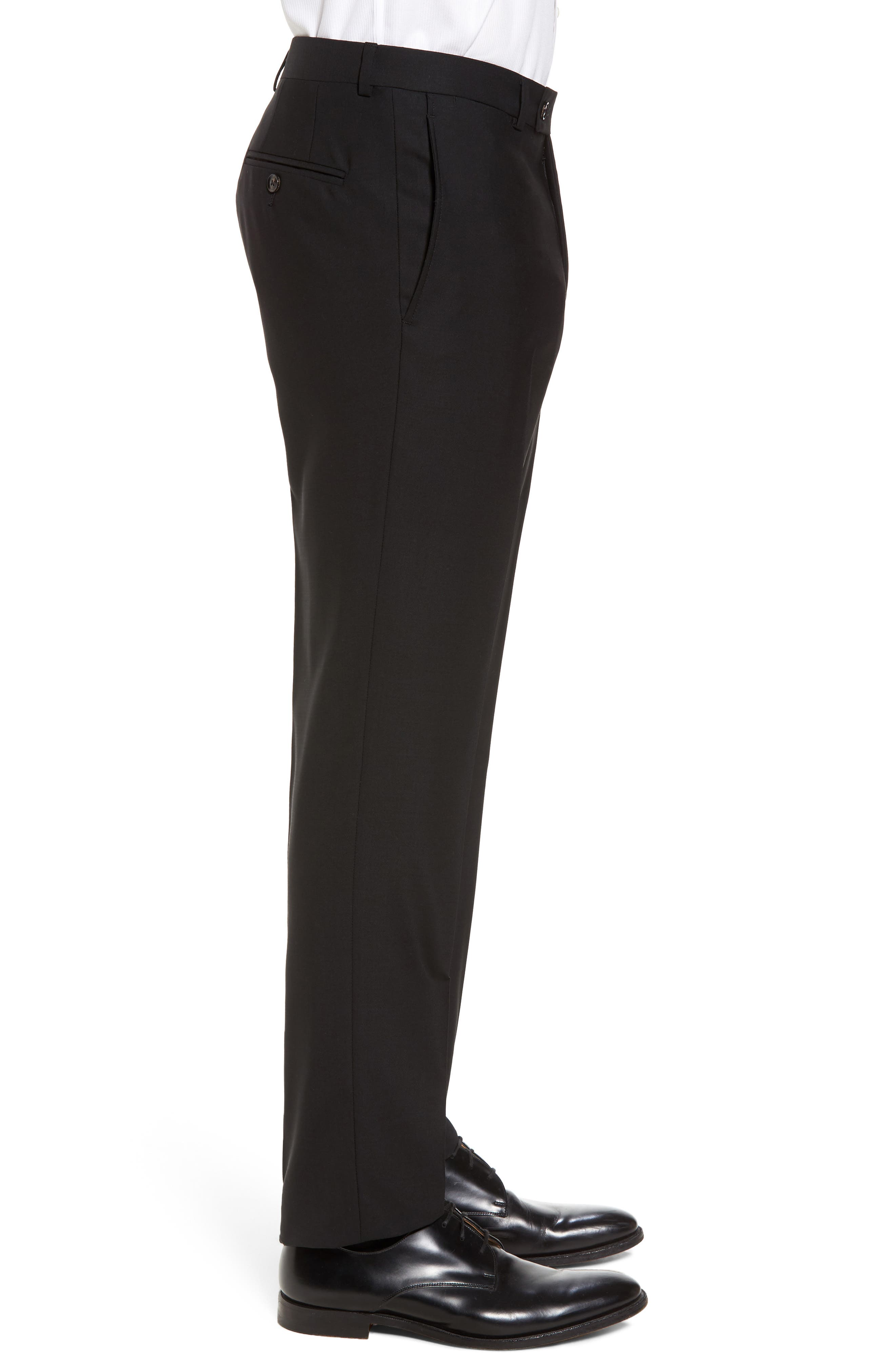 Jefferson Flat Front Solid Wool Trousers,                             Alternate thumbnail 4, color,                             BLACK