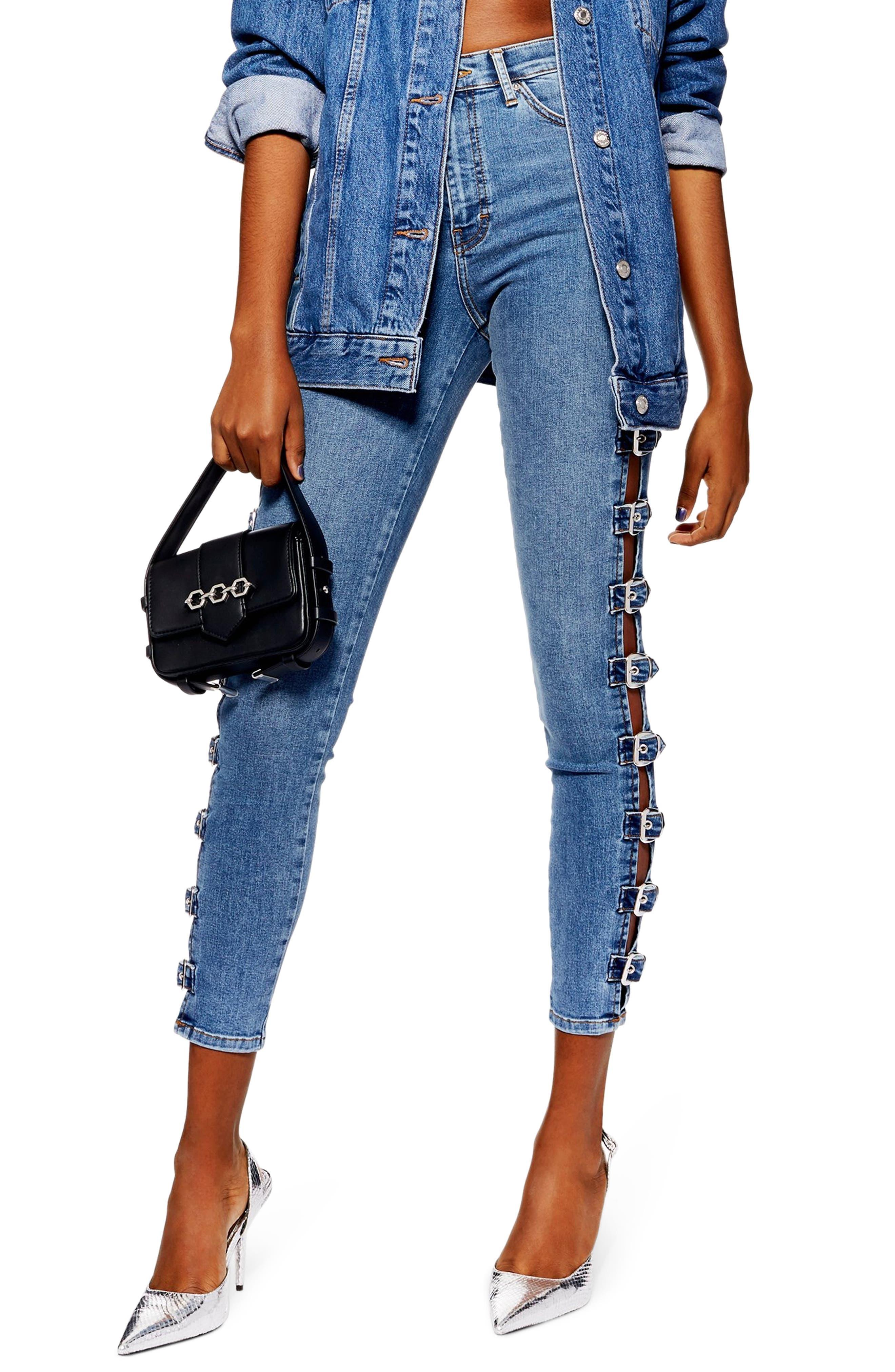 TOPSHOP Jamie Side Buckle Jeans, Main, color, 420
