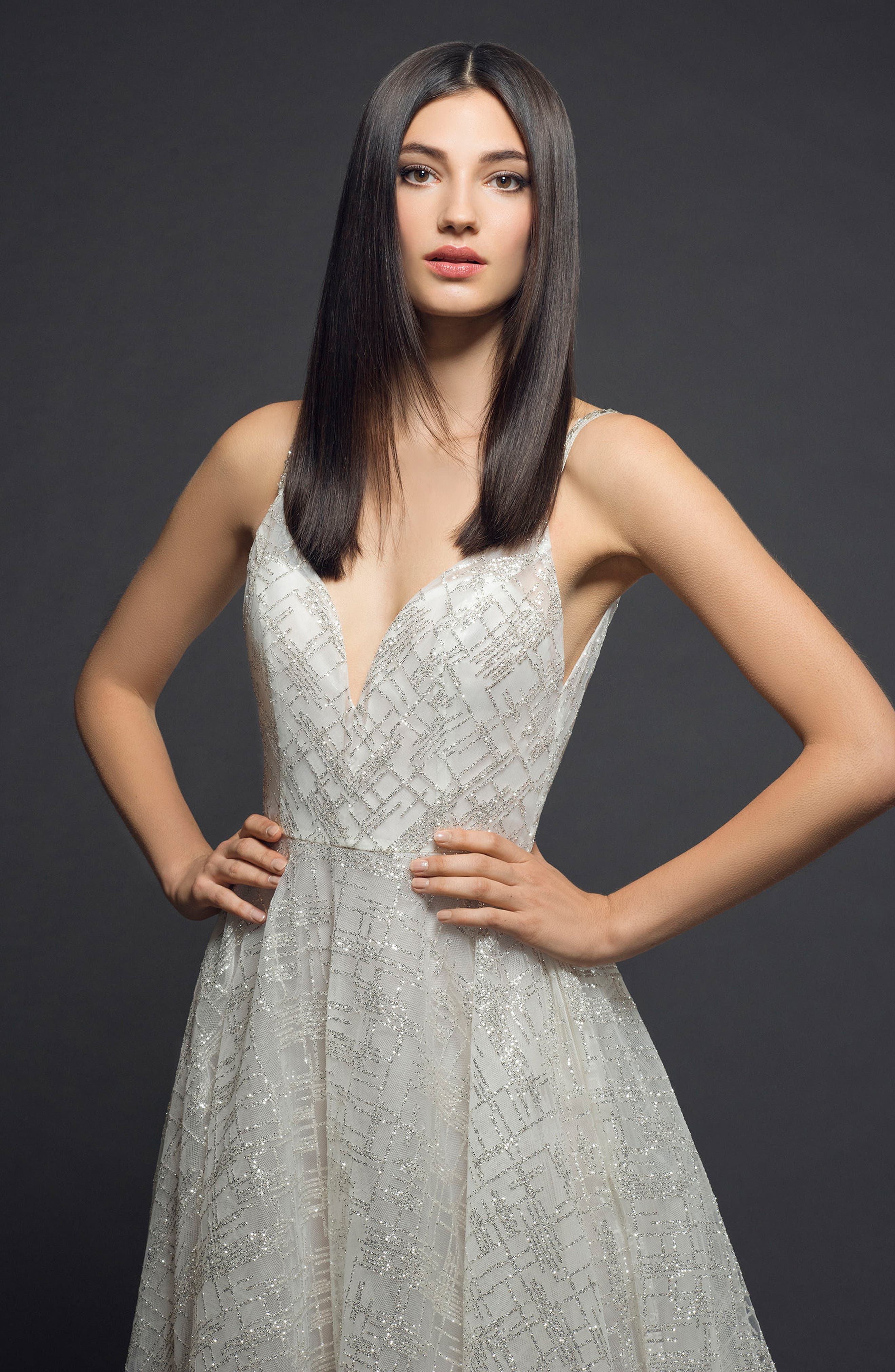 Sparkle Plaid Tulle A-Line Gown,                             Alternate thumbnail 3, color,                             IVORY