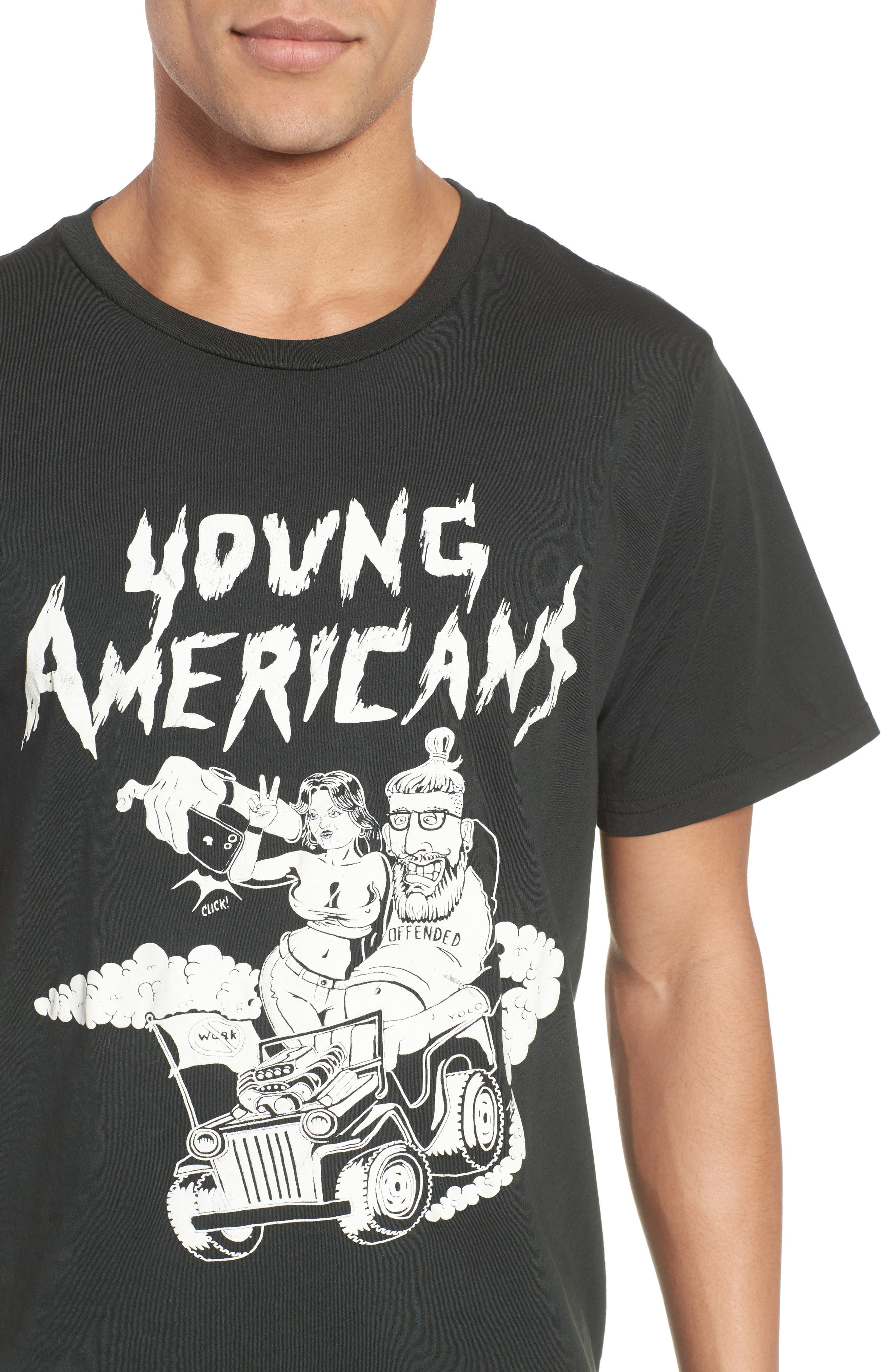 Young Americans Graphic T-Shirt,                             Alternate thumbnail 4, color,                             DUSTY BLACK