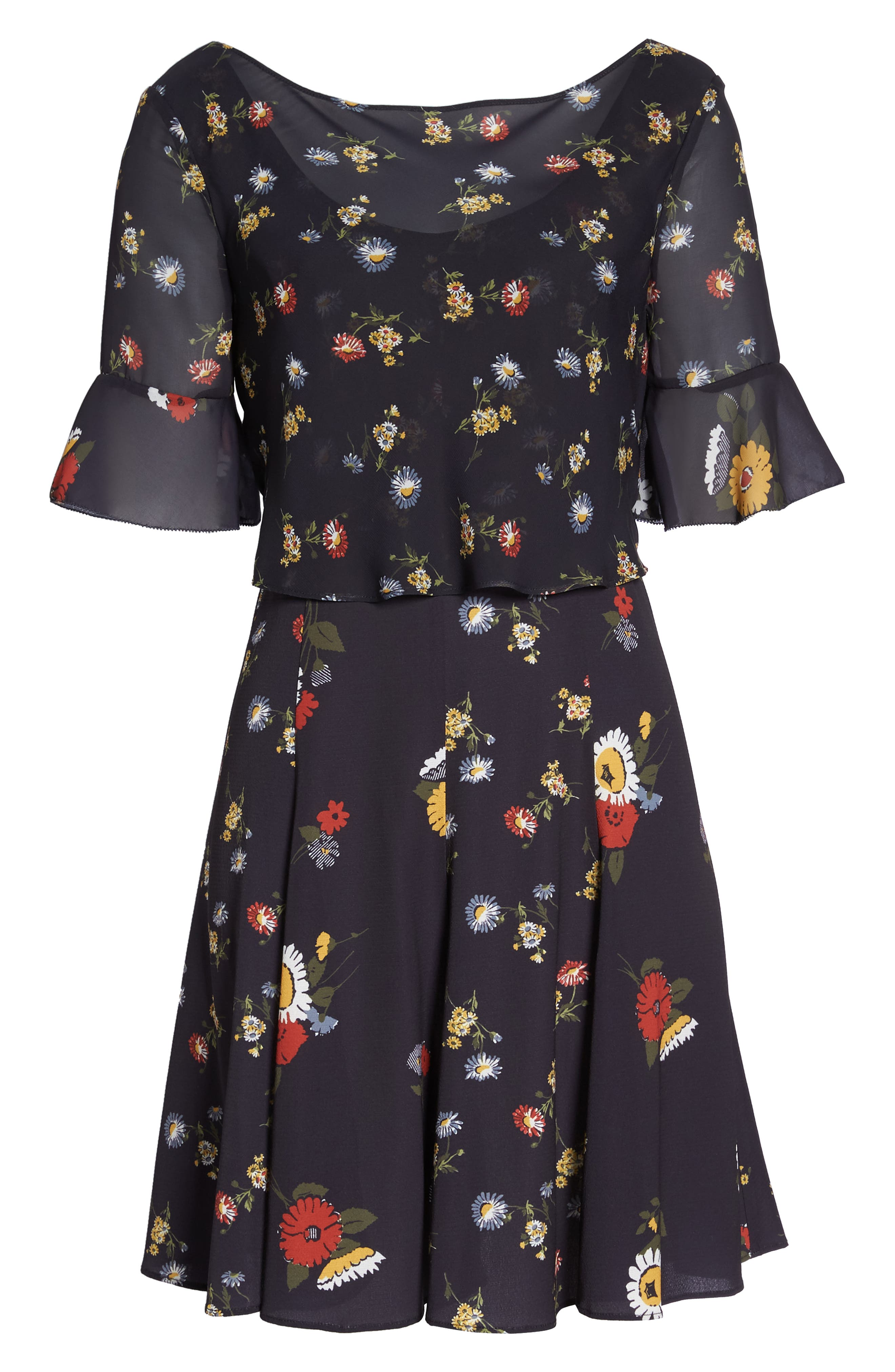 Baudet Print Fit & Flare Dress,                             Alternate thumbnail 7, color,                             UTILITY BLUE MULTI