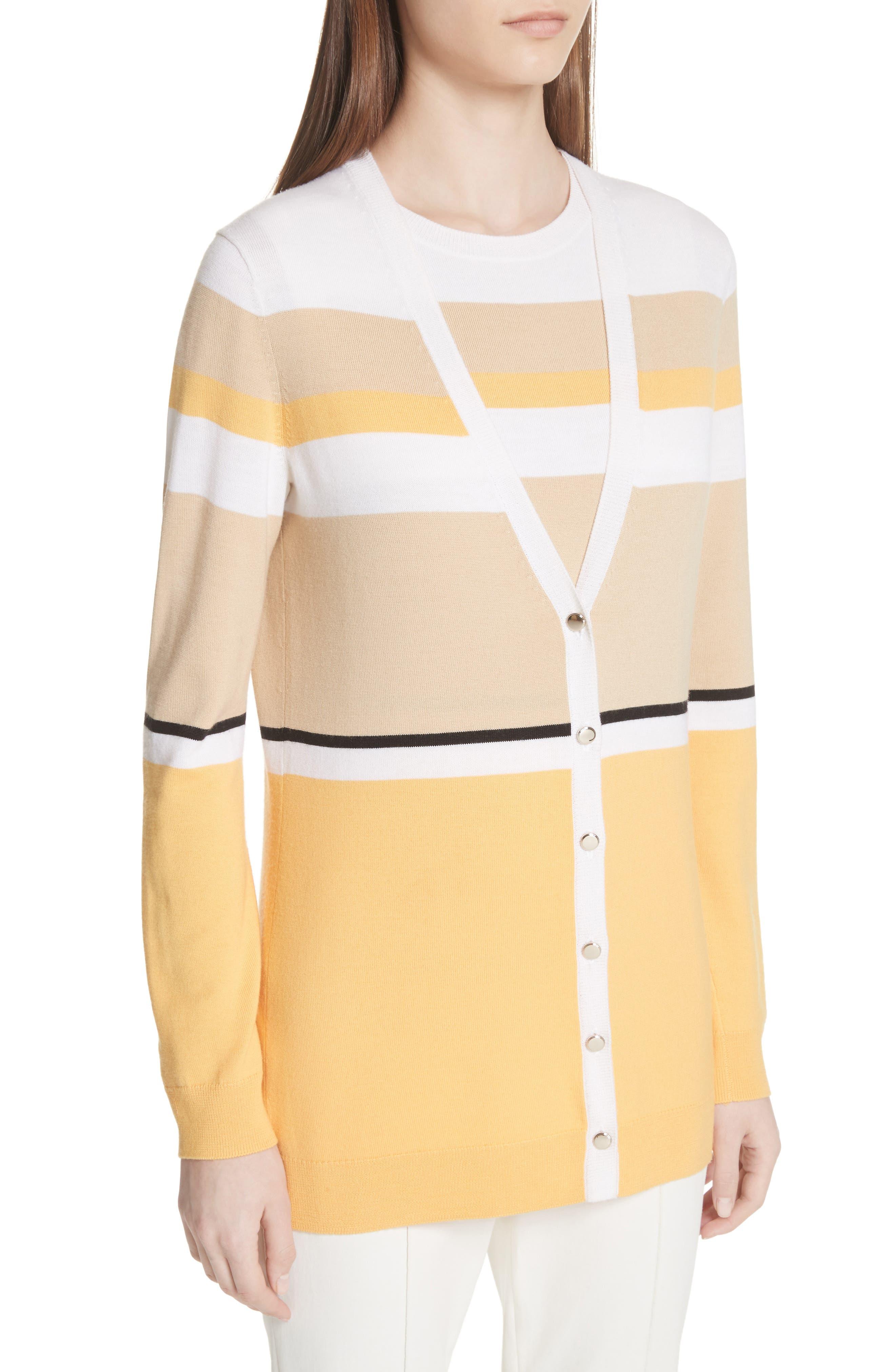 Stripe Jersey Knit Cardigan,                             Alternate thumbnail 4, color,                             WHITE MULTI
