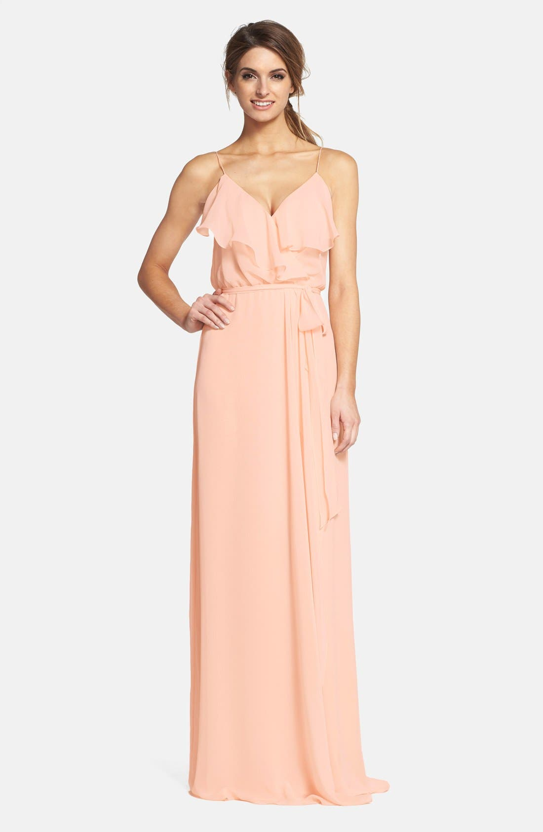 'Drew' Ruffle Front Chiffon Gown,                             Main thumbnail 4, color,