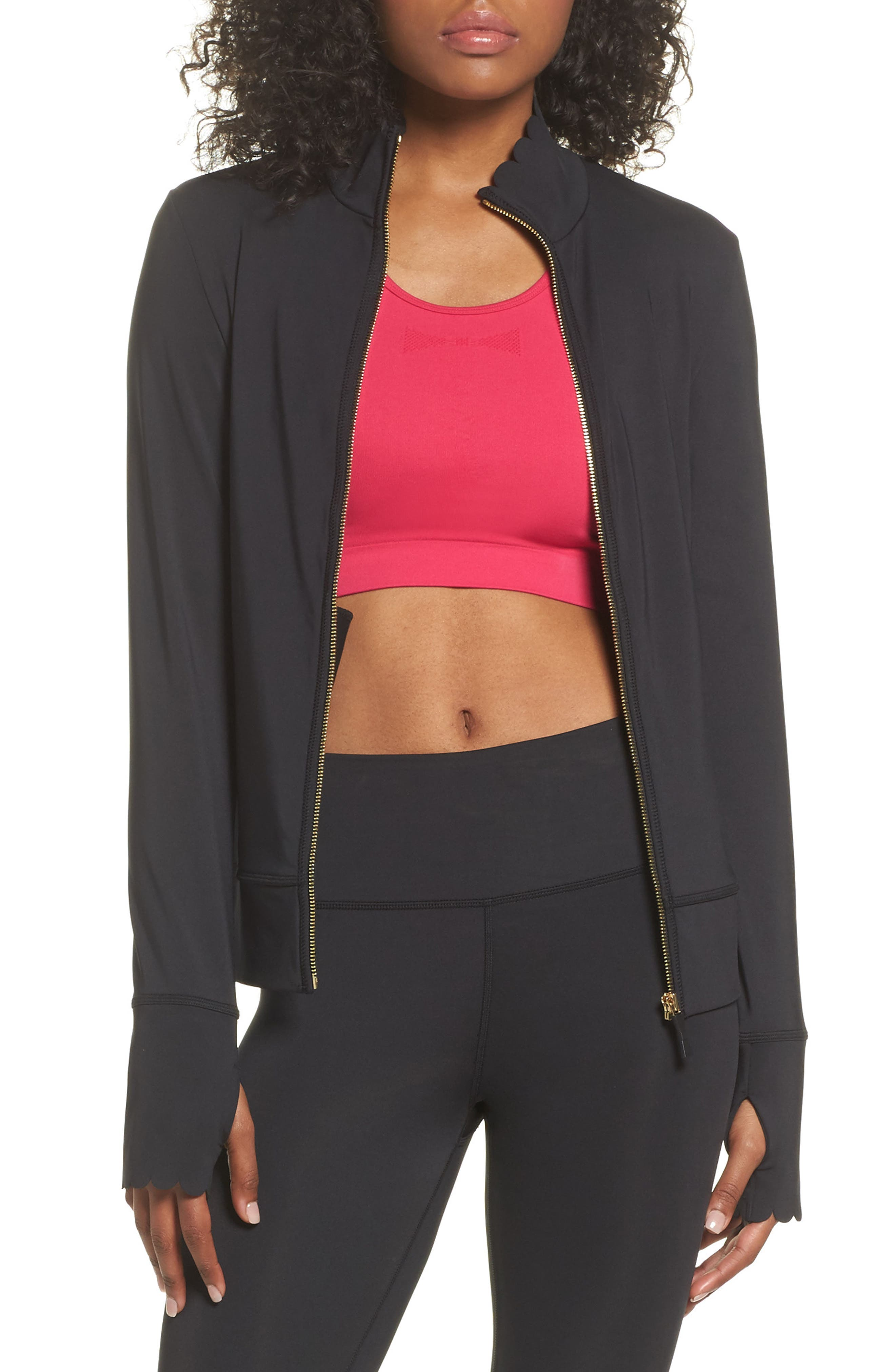 scallop jacket,                         Main,                         color, BLACK