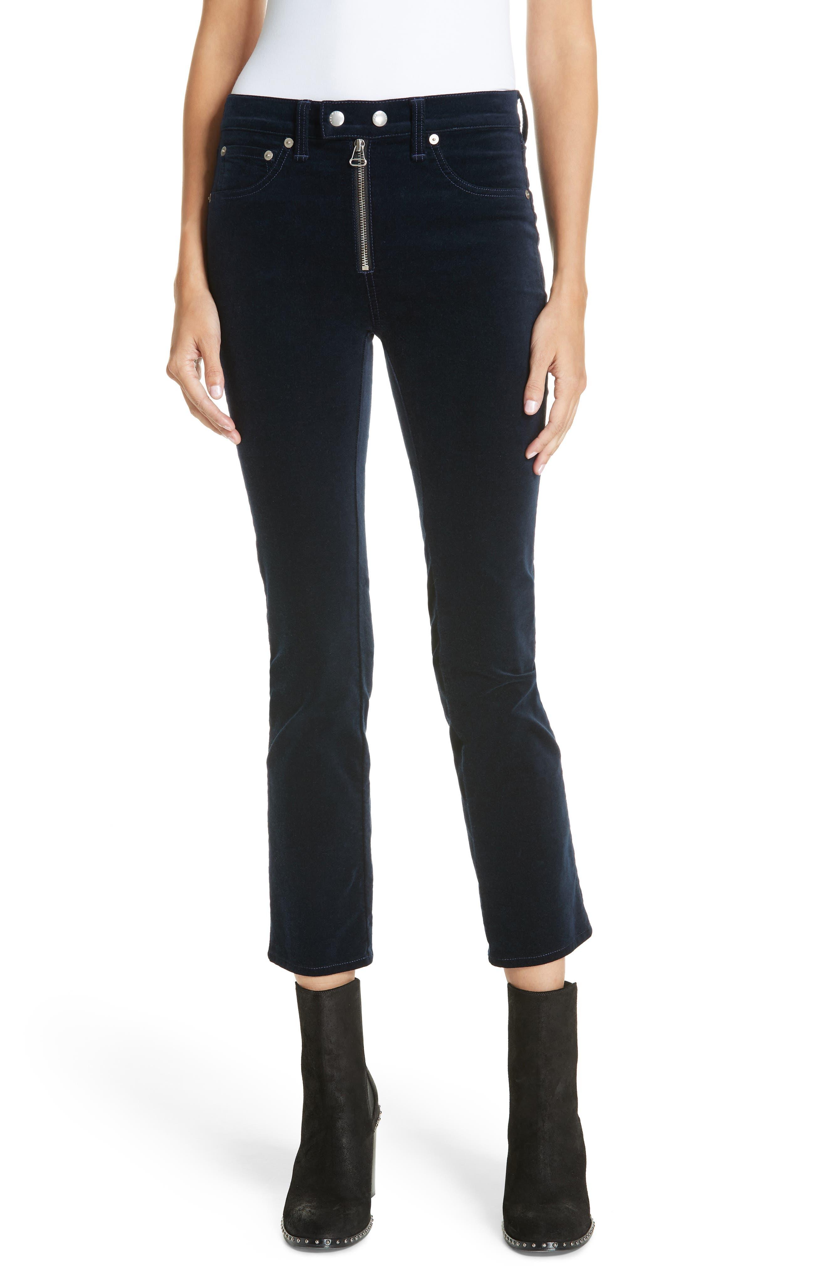 Dojo High Waist Velvet Crop Skinny Pants,                             Main thumbnail 1, color,                             NAVY