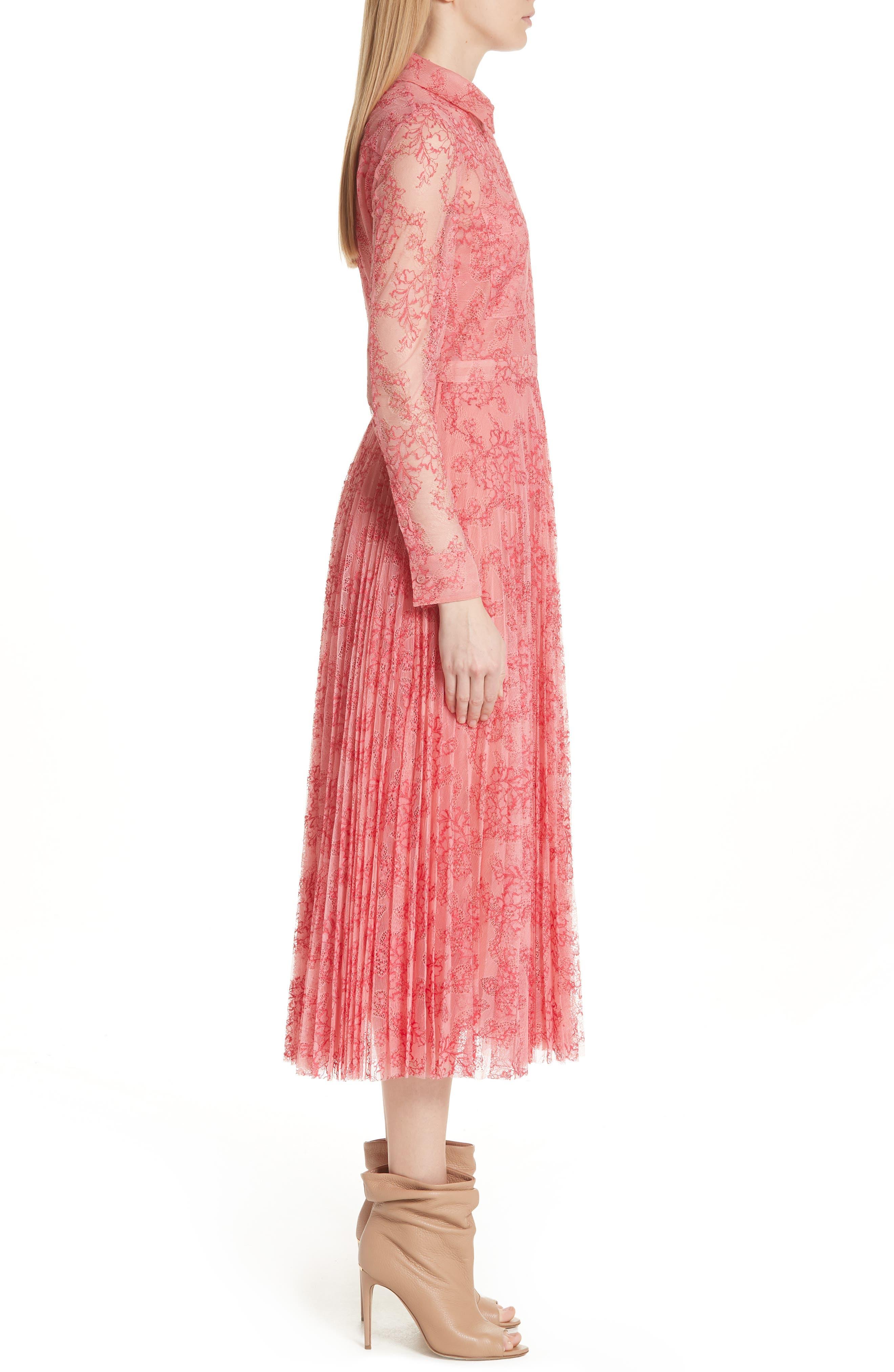 Clementine Floral Lace Midi Dress,                             Alternate thumbnail 3, color,                             956