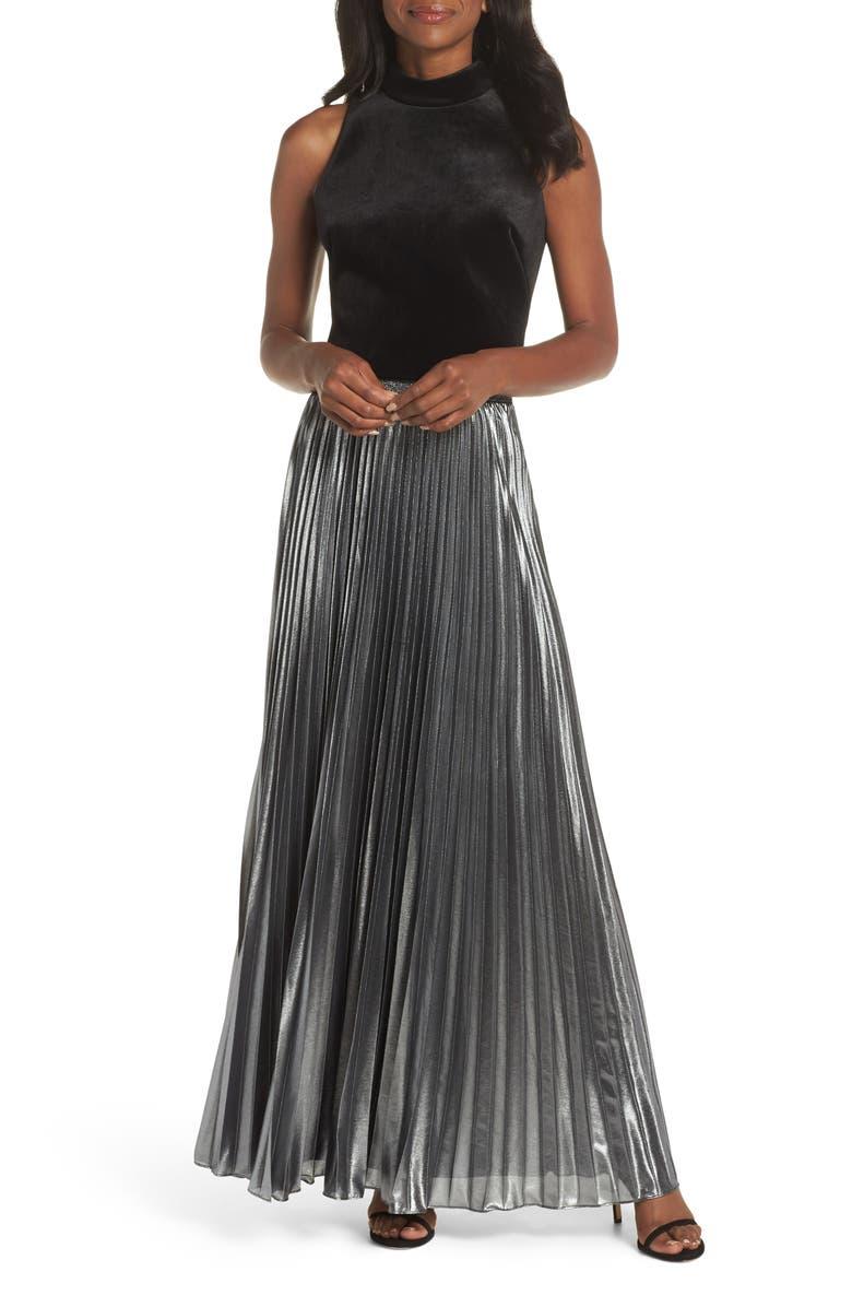 51801c917eb07 Eliza J Pleated Lamé Maxi Skirt