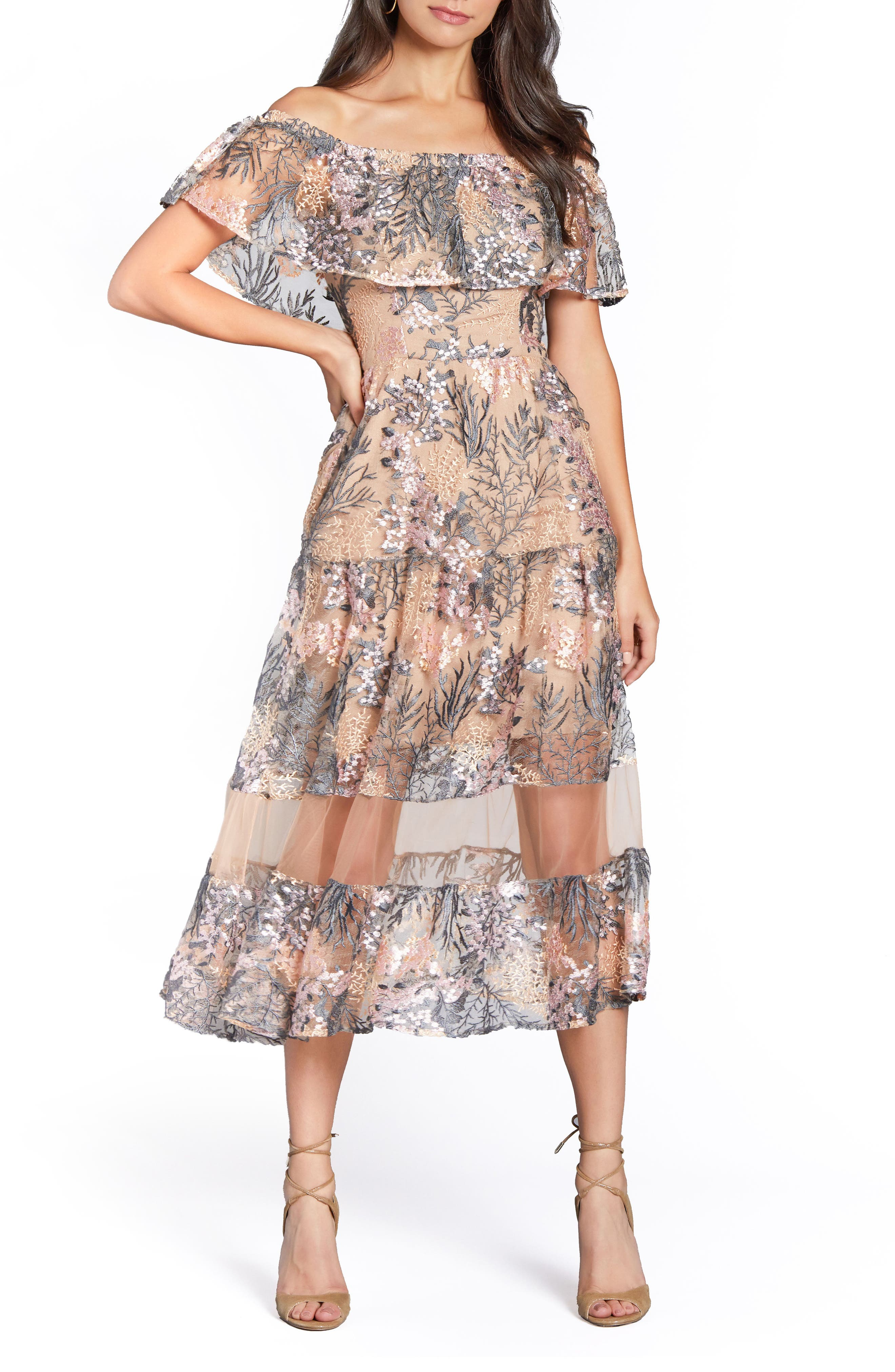 Gabriella Off the Shoulder Dress,                         Main,                         color, PINK BLOSSOM