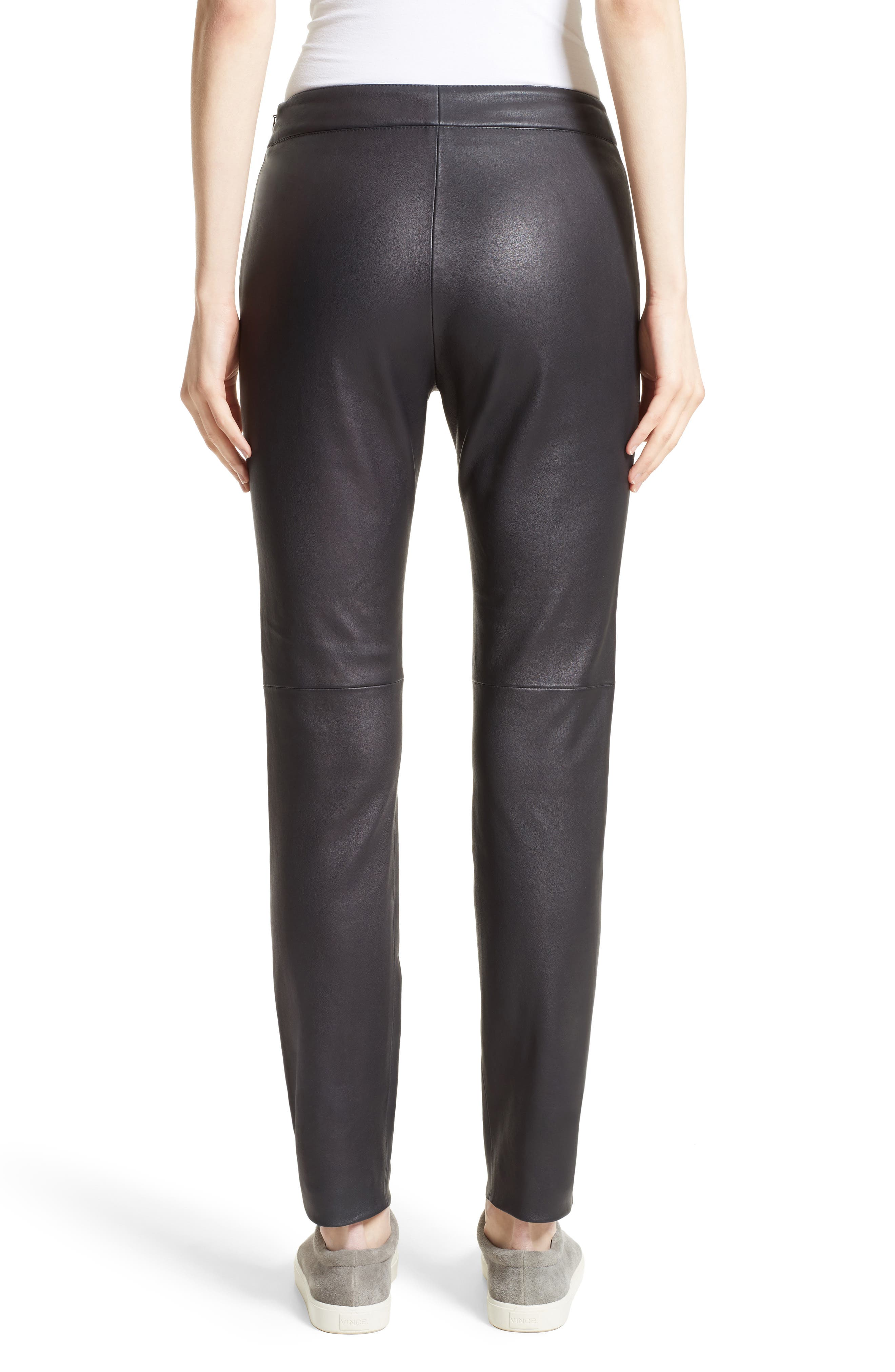 Side Zip Stretch Leather Leggings,                             Alternate thumbnail 2, color,                             001