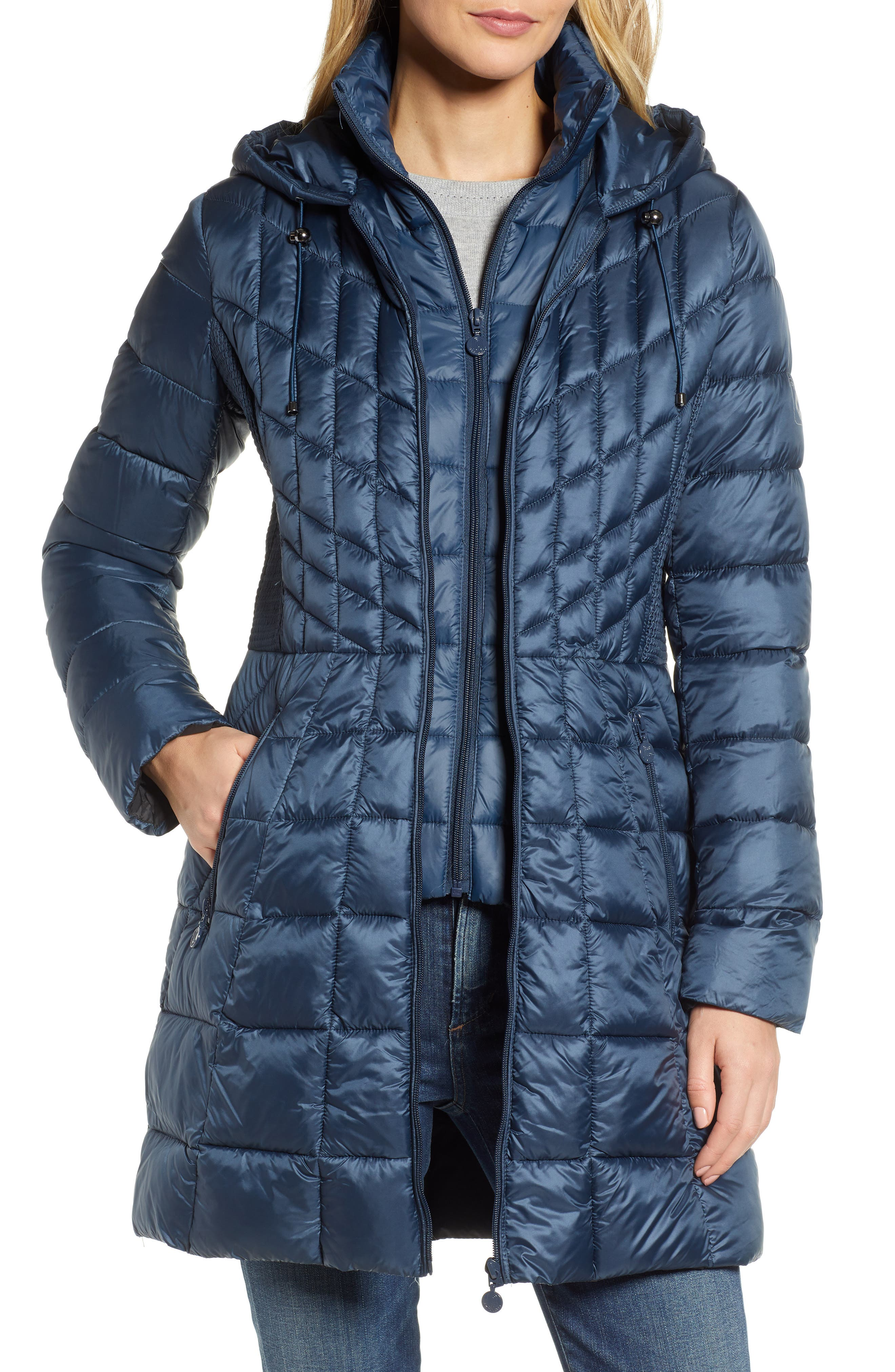 Packable Hooded PrimaLoft<sup>®</sup> Fill Coat with Contrast Inset Bib,                             Main thumbnail 1, color,                             300