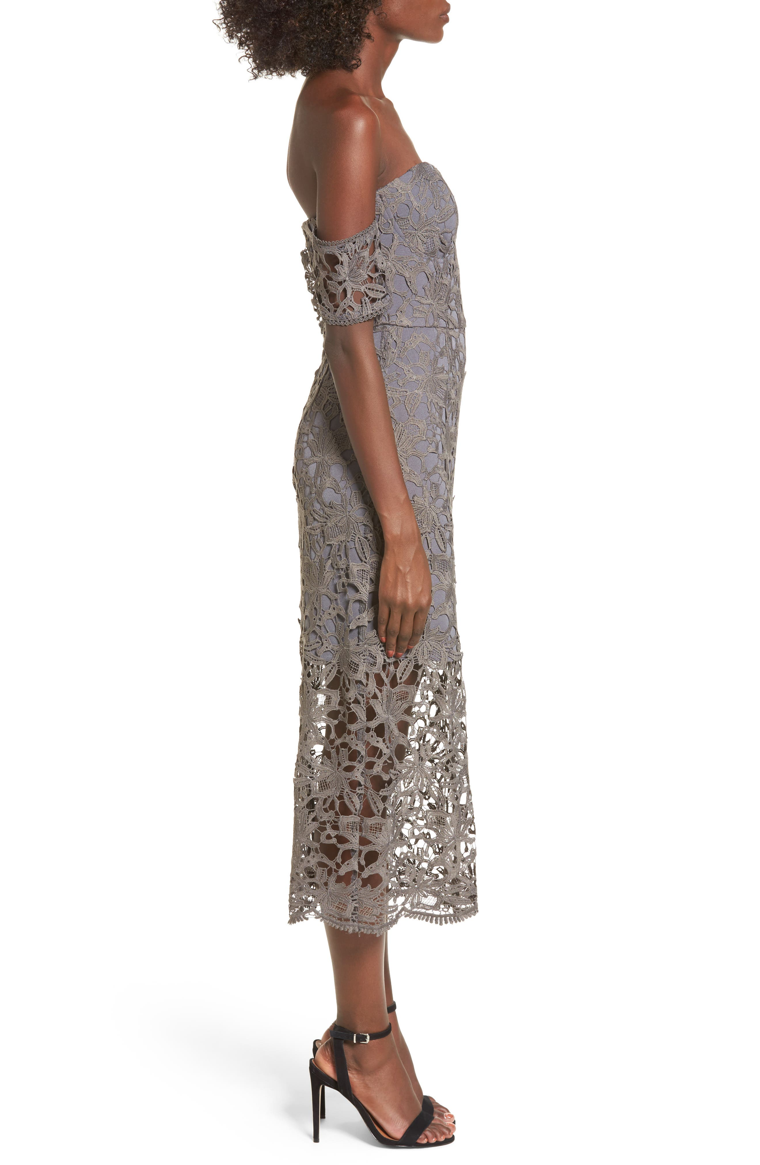 Off the Shoulder Lace Midi Dress,                             Alternate thumbnail 3, color,