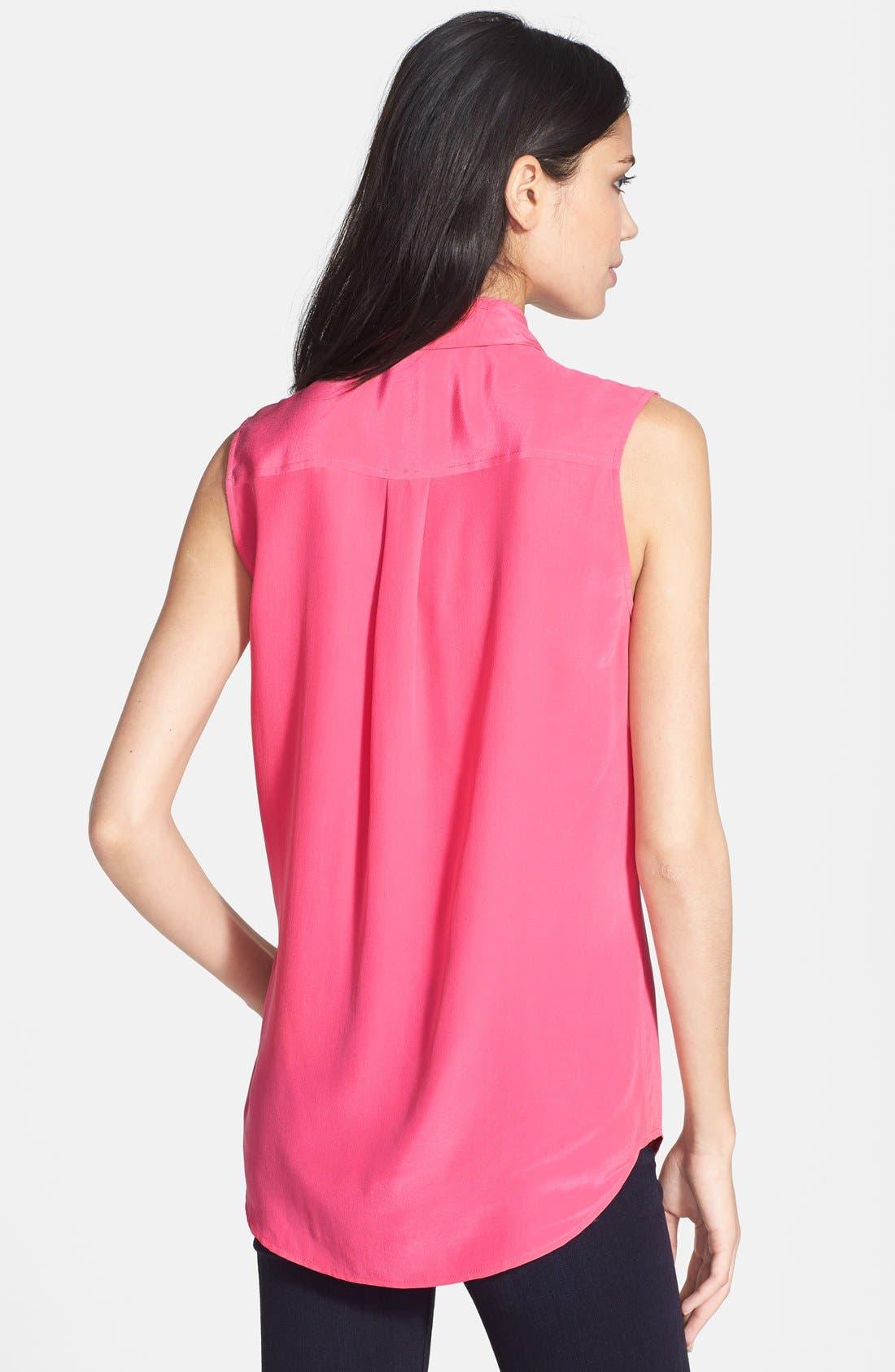 'Slim Signature' Sleeveless Silk Shirt,                             Alternate thumbnail 133, color,