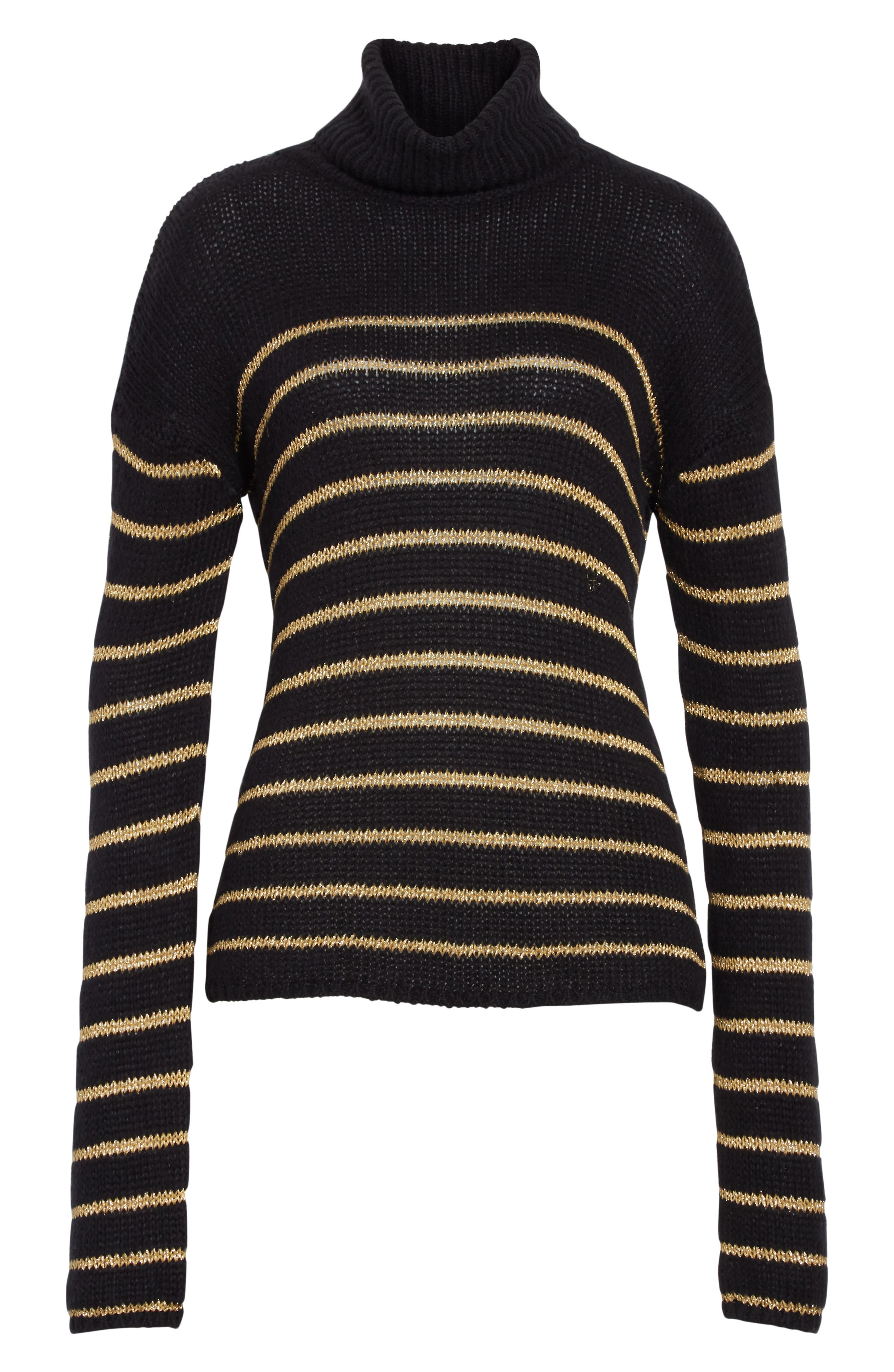 Elisa Metallic Stripe Turtleneck Sweater,                             Alternate thumbnail 6, color,                             010