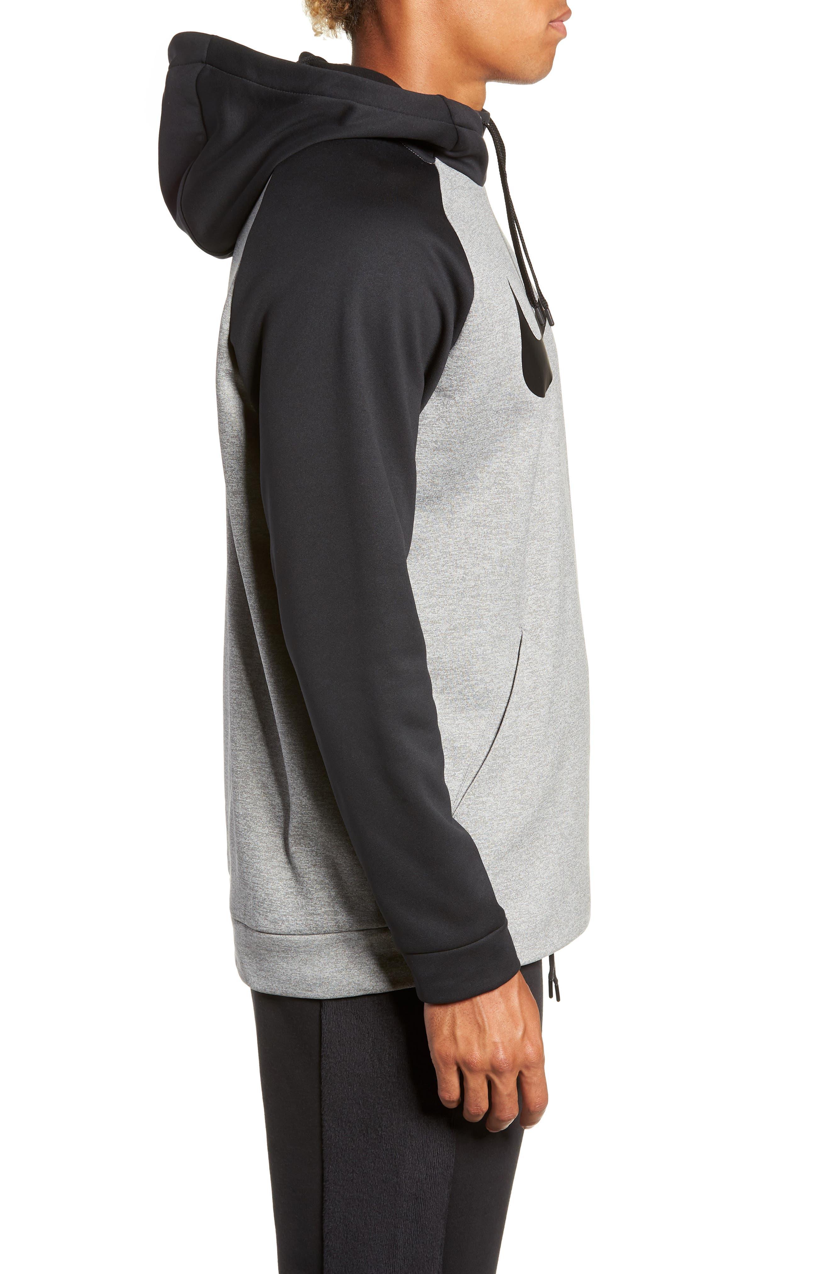 Therma Swoosh Dry Pullover Hoodie,                             Alternate thumbnail 3, color,                             DK GREY HEATHER/ BLACK/ BLACK