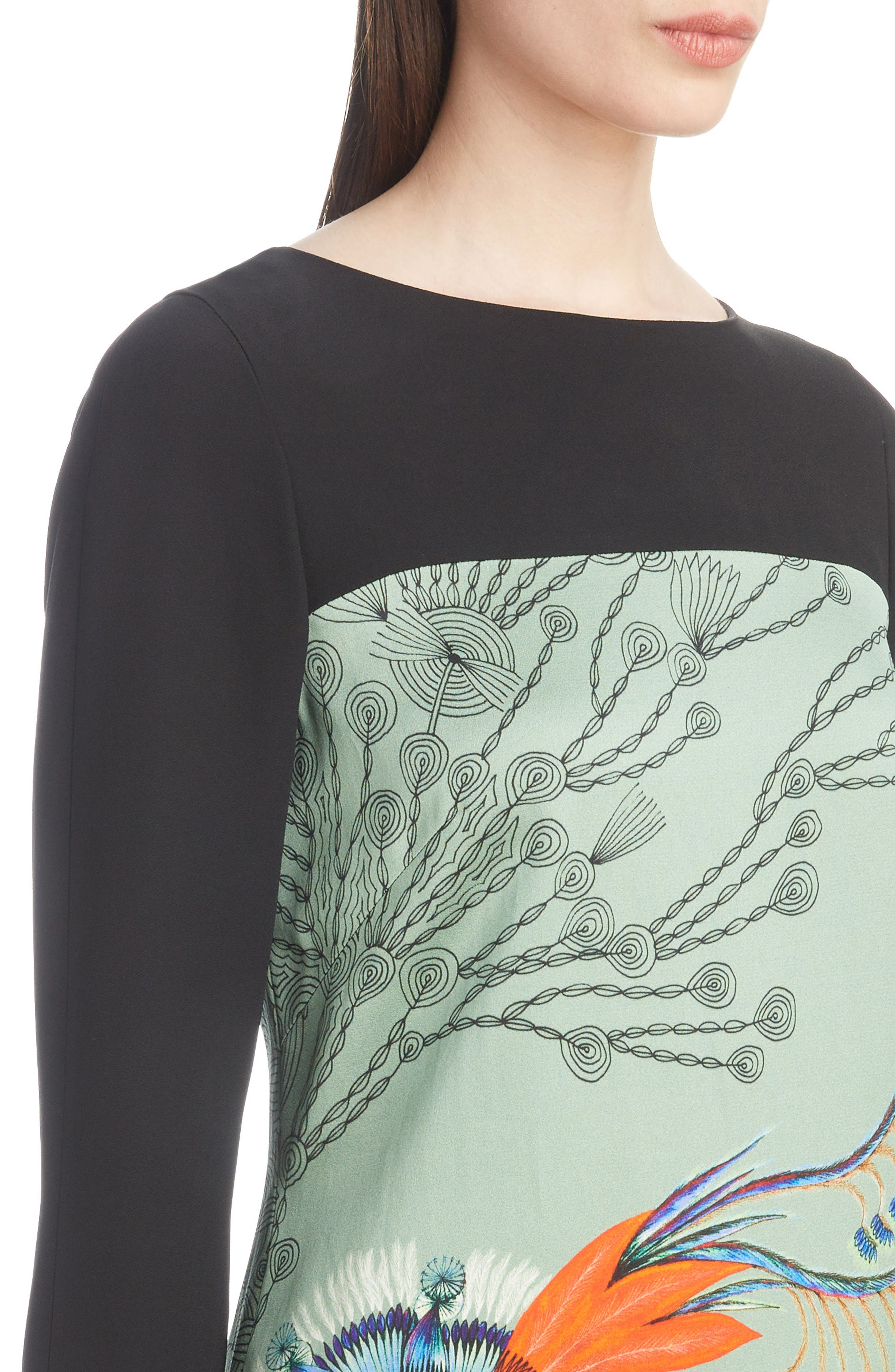 Placed Floral Print Dress,                             Alternate thumbnail 4, color,                             440
