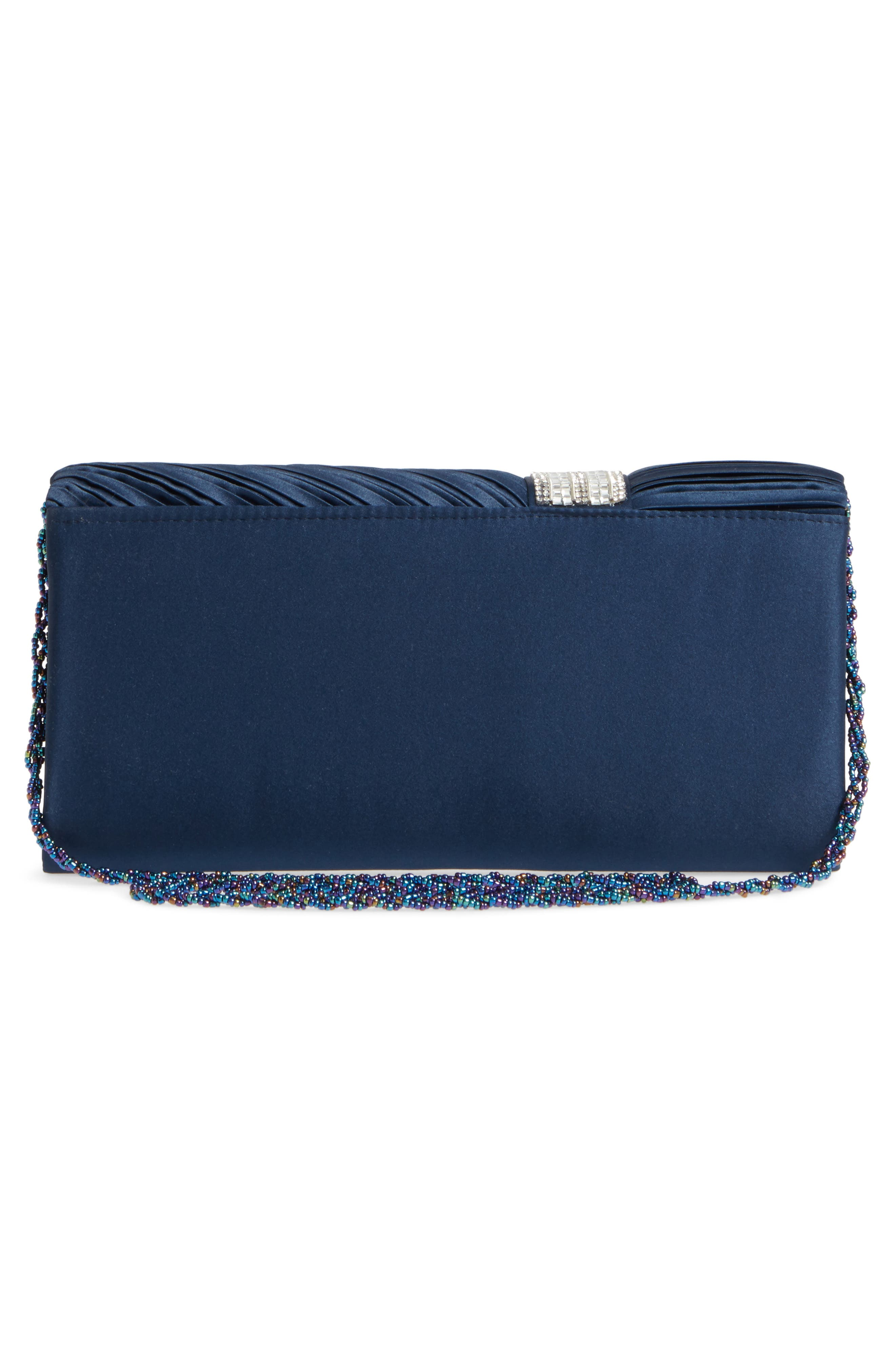 Daylie Pleated Satin Clutch,                             Alternate thumbnail 8, color,