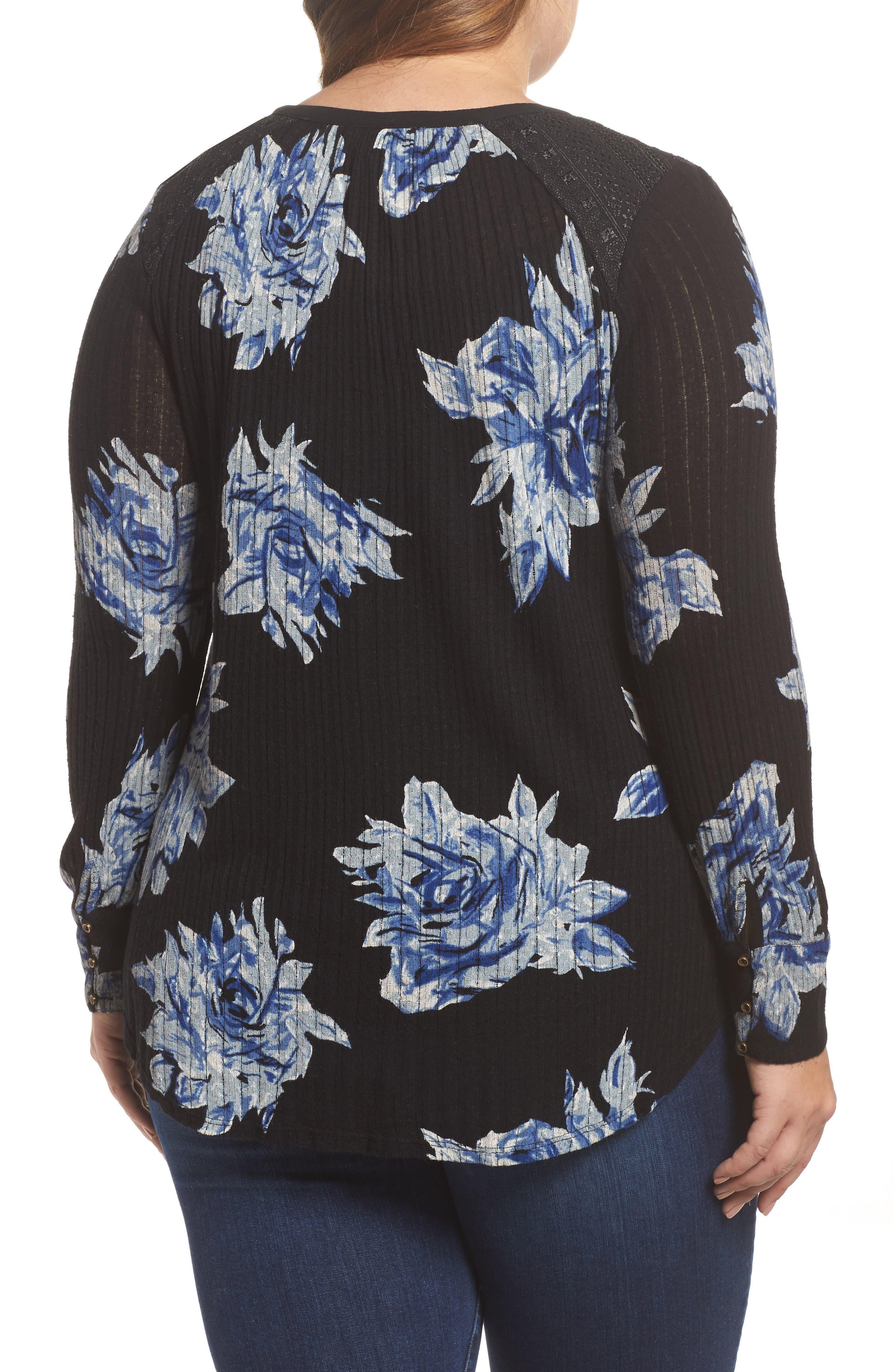 Floral Print Drop Needle Knit Shirt,                             Alternate thumbnail 2, color,
